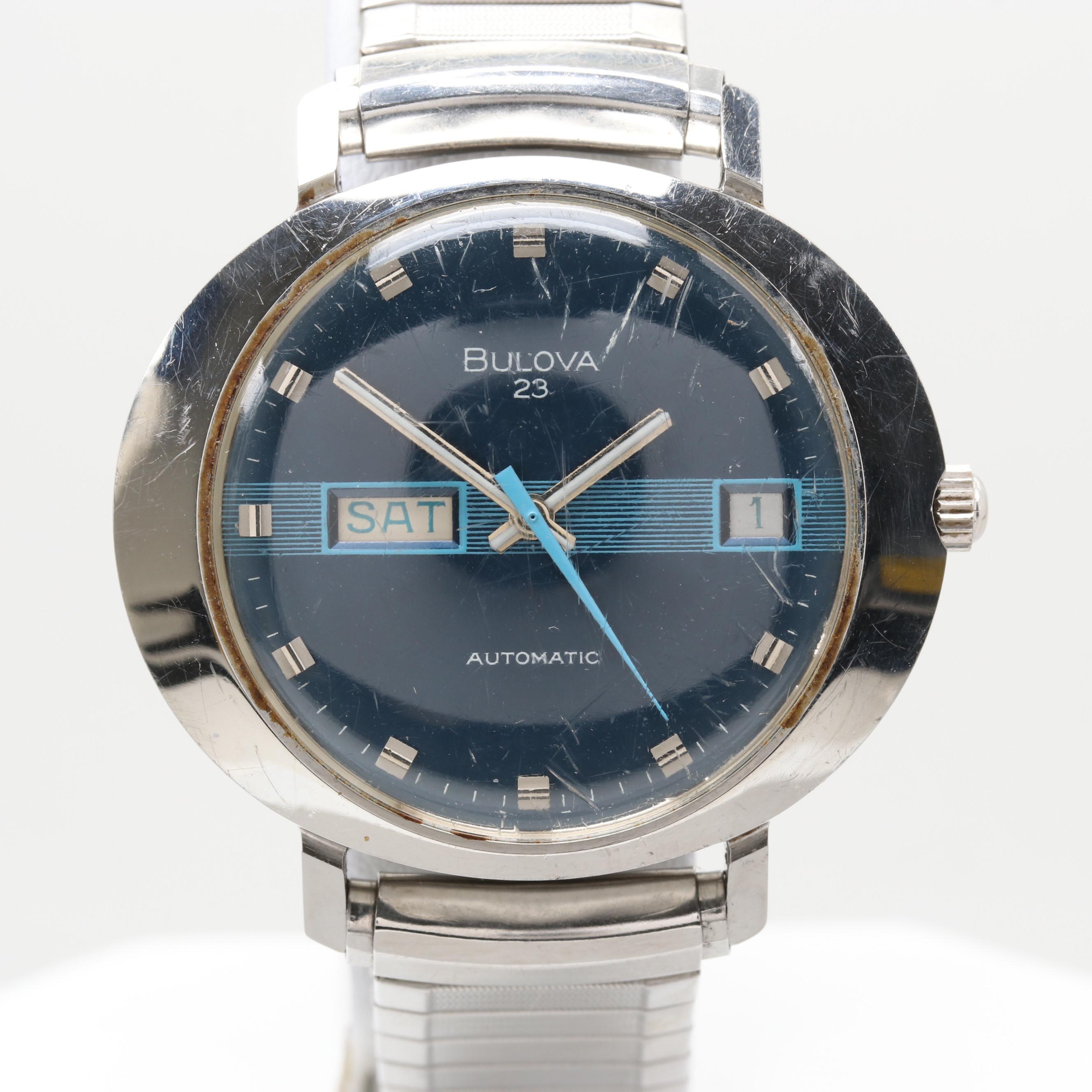 Bulova Stainless Steel Day/Date Wristwatch