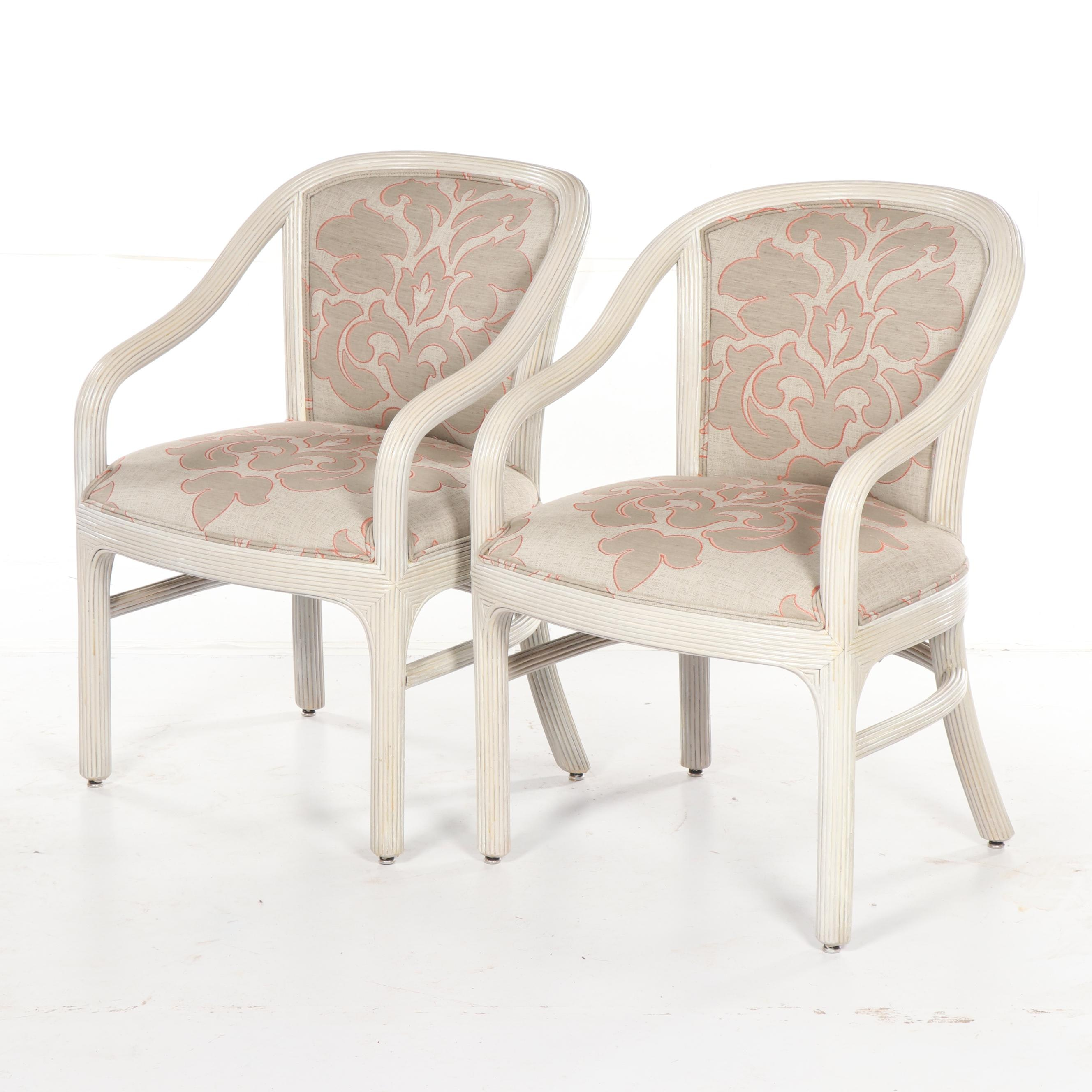 Painted Wood and Upholstered Armchairs by Vogue Rattan, Late 20th Century