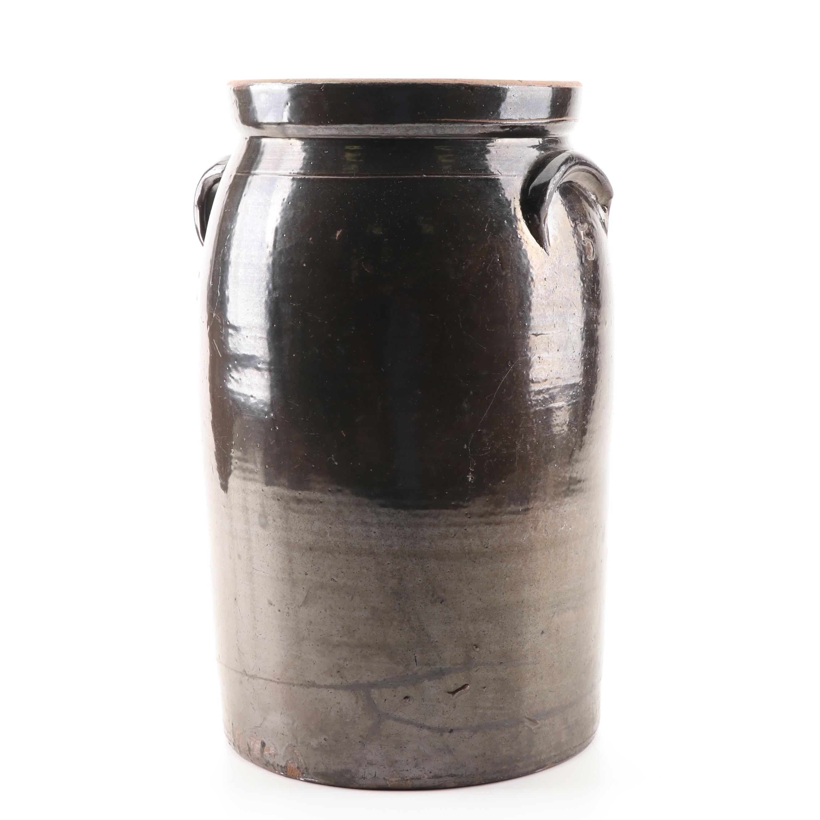 Albany Slip Glazed Five-Gallon Stoneware Crock with Double Handles