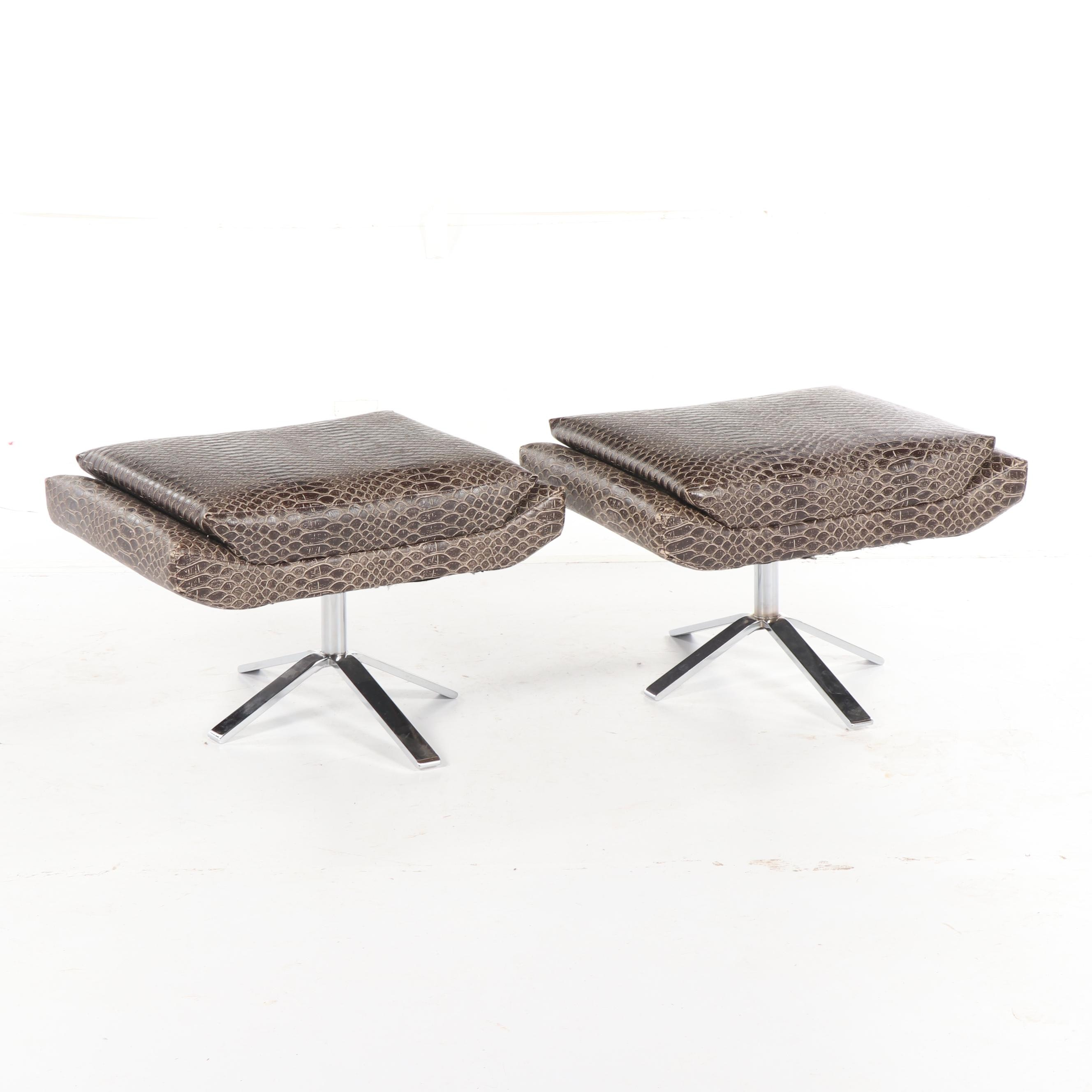 Faux Leather and Metal Footstools, Mid-20th Century