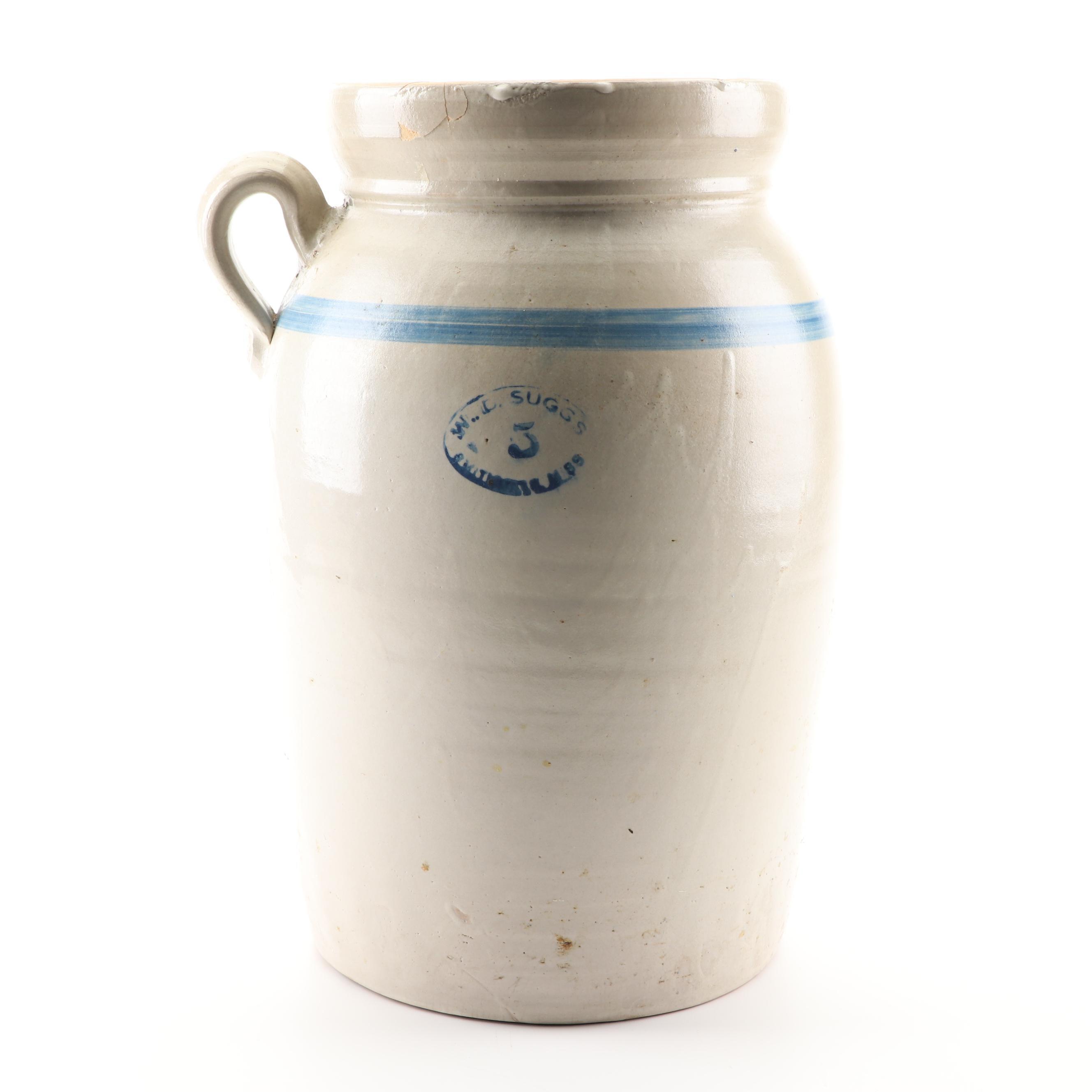 W.D. Suggs Five-Gallon Stoneware Crock