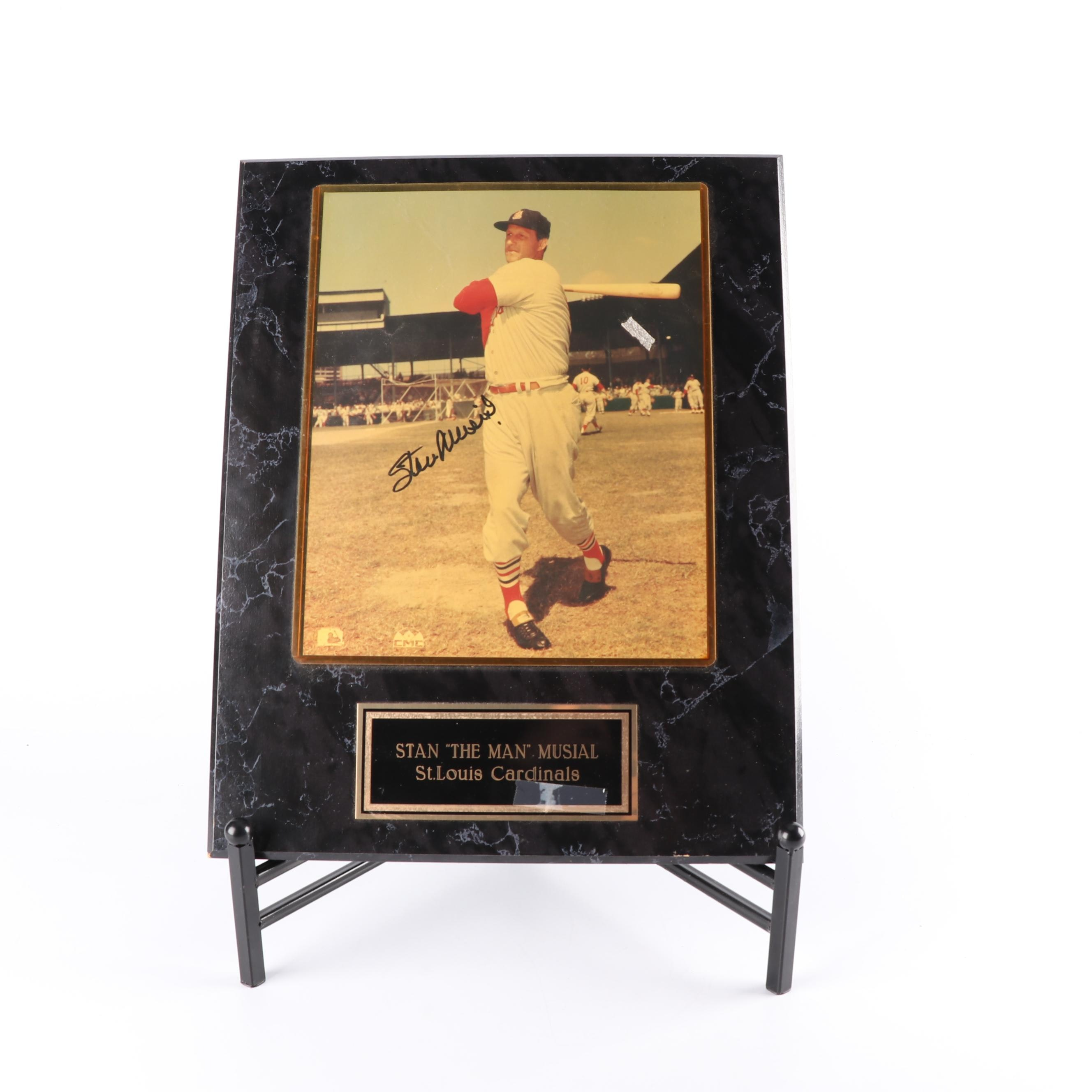 Stan Musial Autographed Color Photograph on Plaque