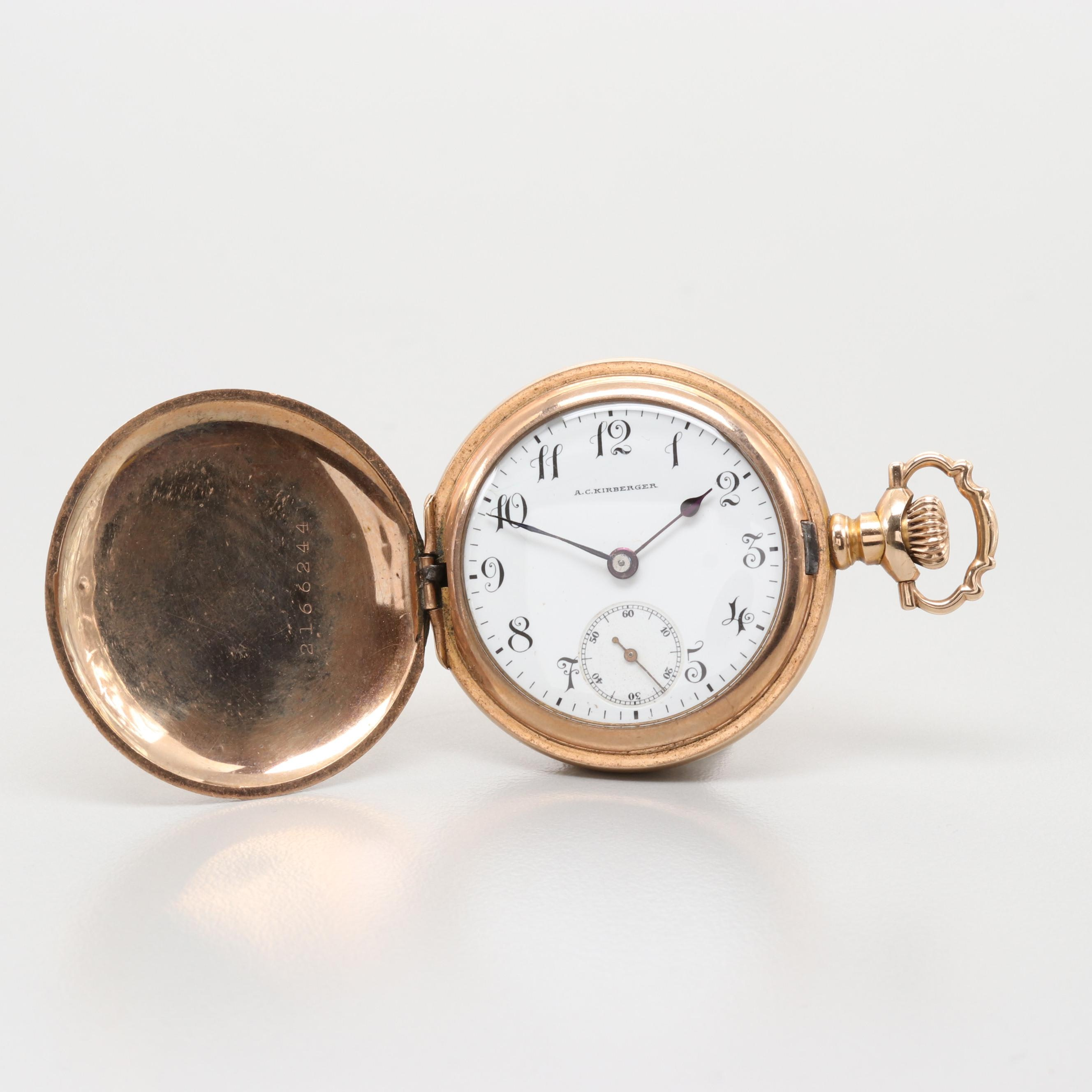 Longines Gold Filled Hunting Case Pocket Watch For A.C. Kirkberger, Circa 1907
