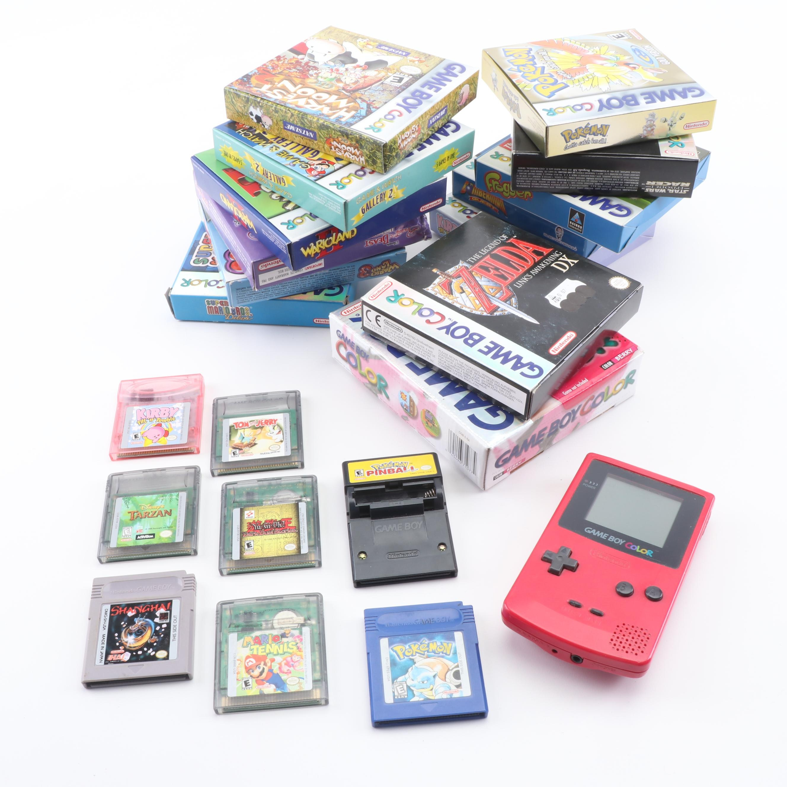 Nintendo Game Boy Color with 11 Games featuring Pokémon Blue