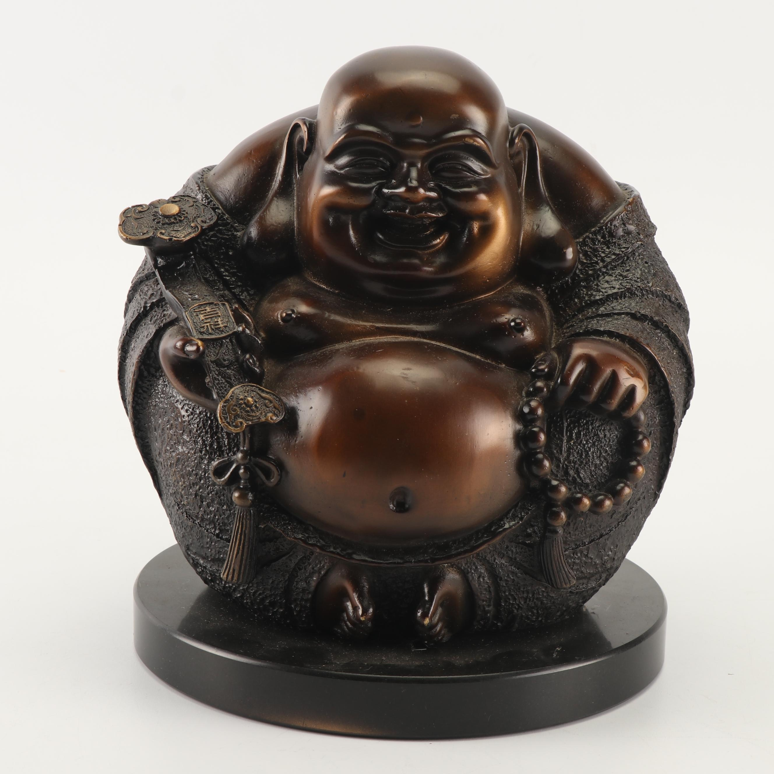 Chinese Cast Metal Budai Sculpture