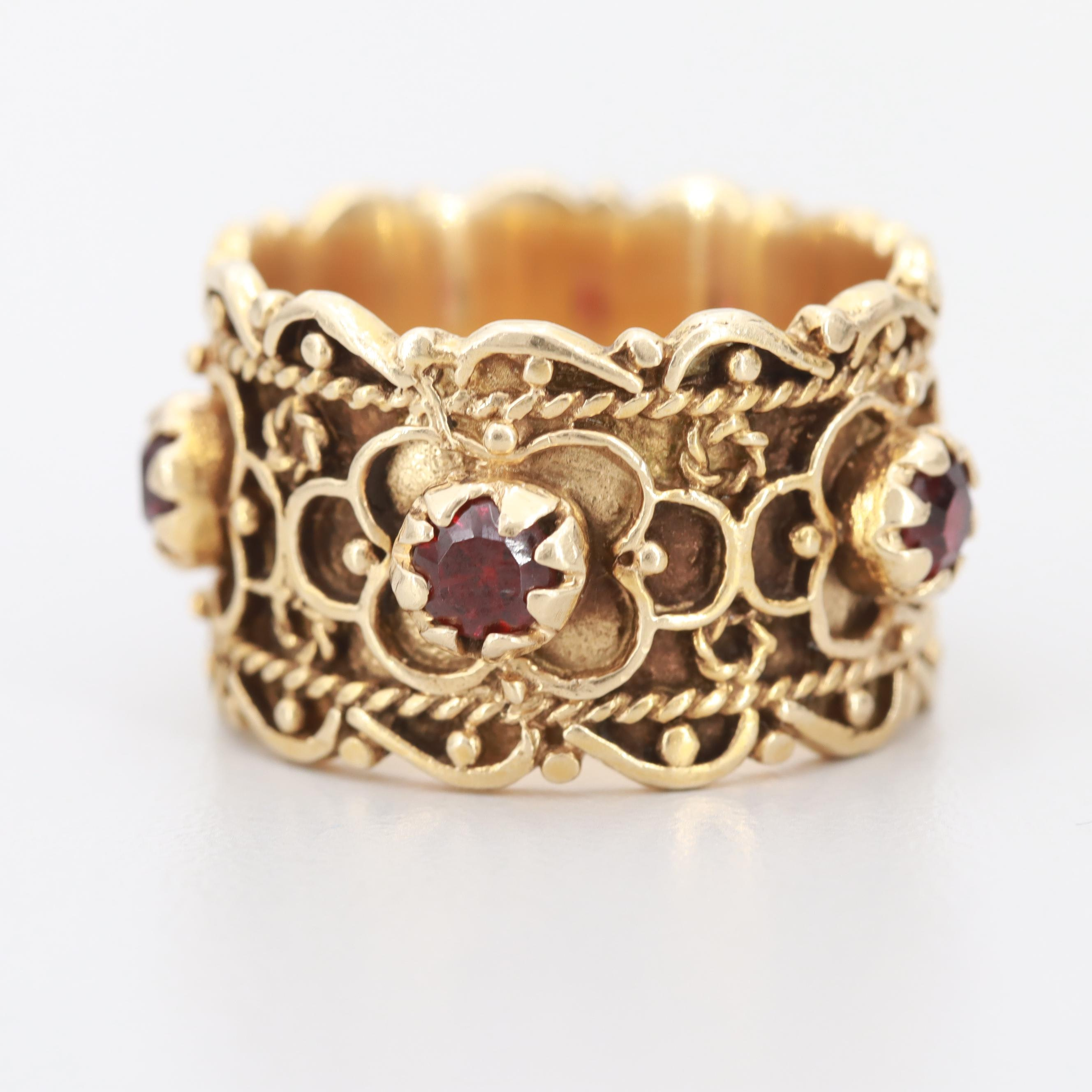 Sidney Berman & Co. Etruscan Style 14K Yellow Gold Garnet Ring