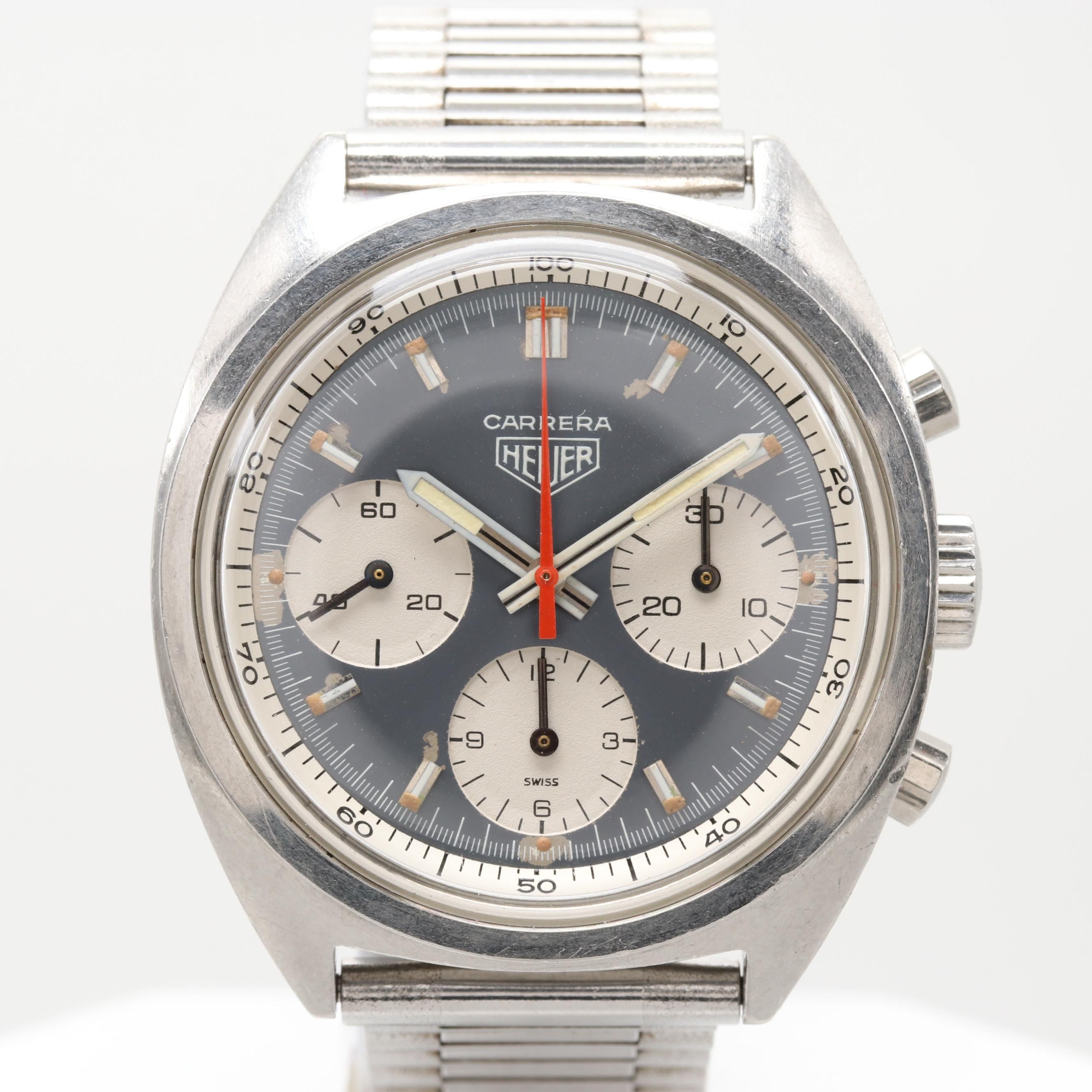 Vintage Heuer Carrera Stem Wind Chronograph Wristwatch
