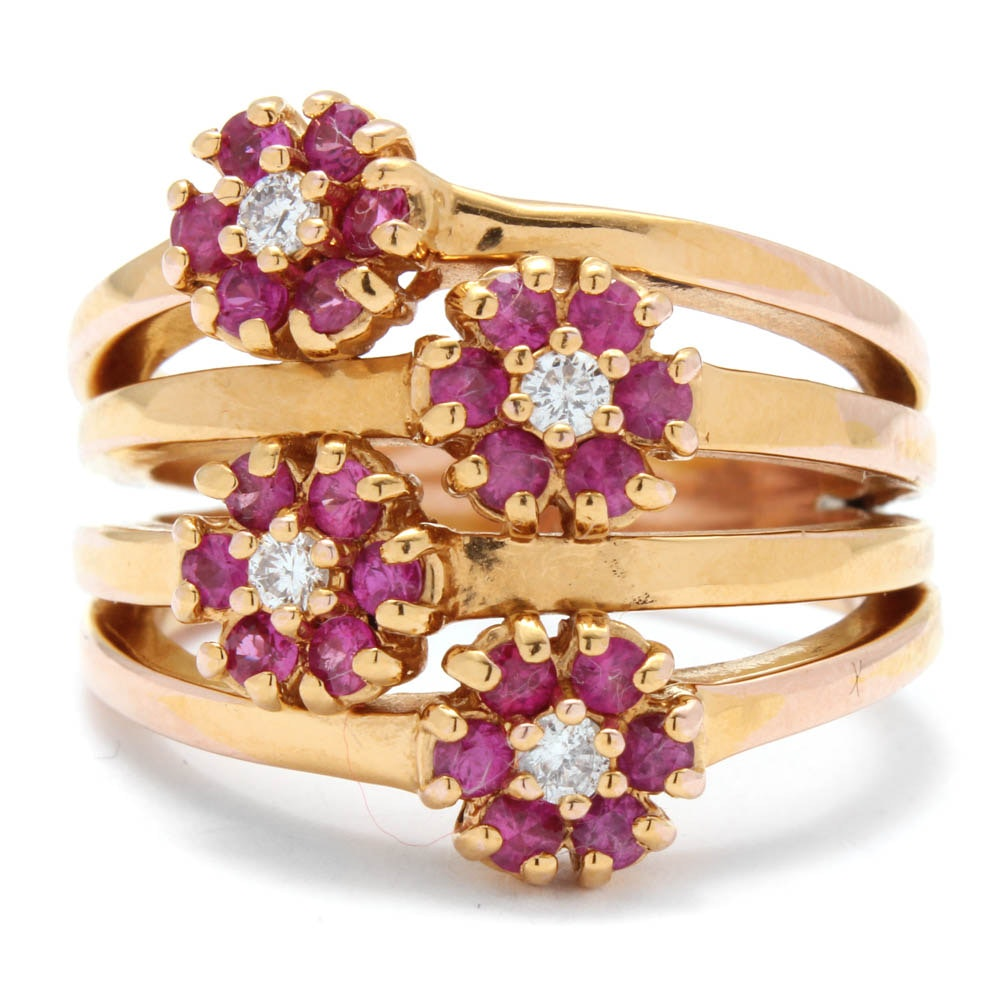 Sonia Bitton 14K Yellow Gold Diamond and Ruby Ring