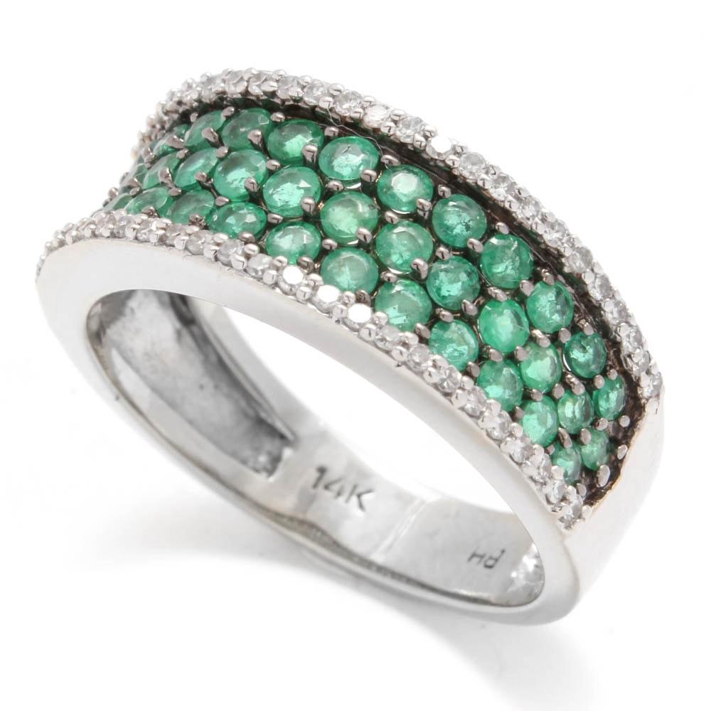 14K White Gold Emerald and Diamond Pavé Ring