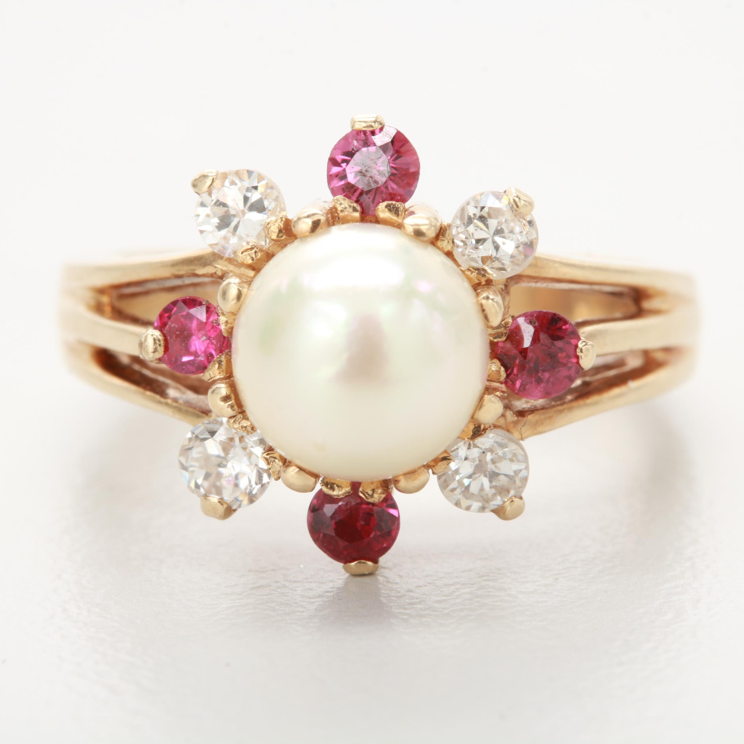 14K Yellow Gold Cultured Pearl, Ruby and Diamond Ring