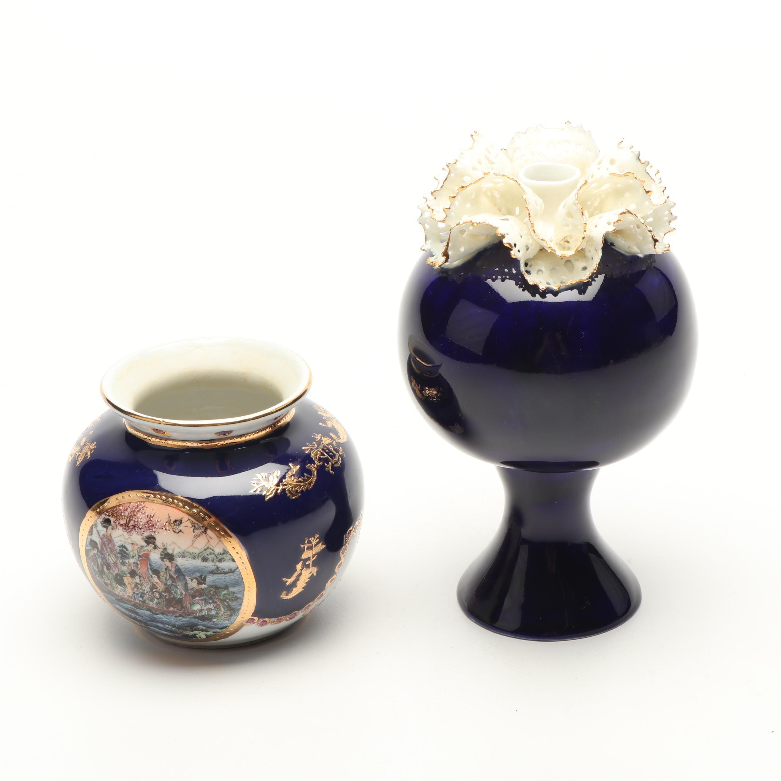 Limoges and Royal Dux Porcelain Vases