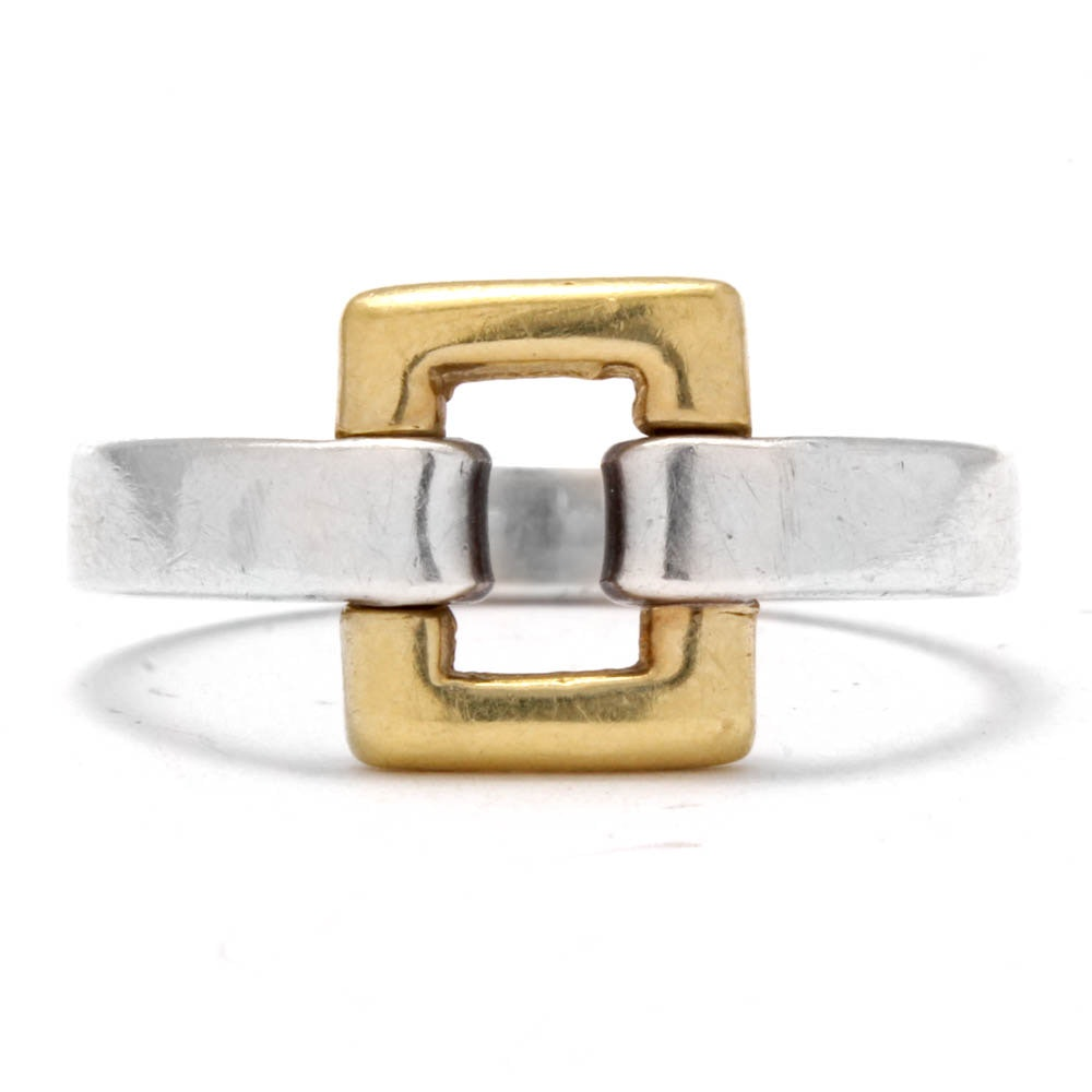 Tiffany & Co. 18K Yellow Gold Accented Sterling Silver Buckle Ring