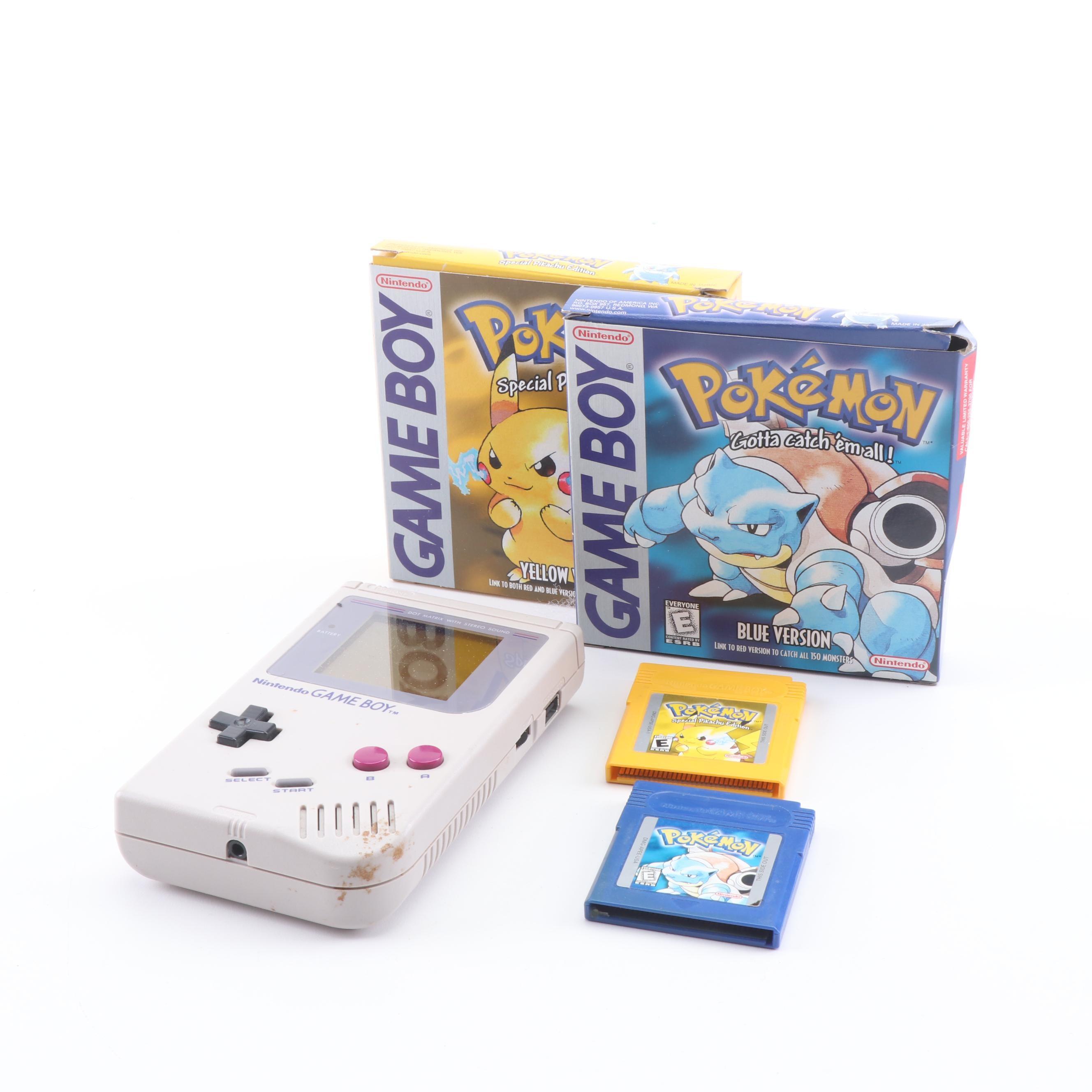 """Nintendo Game Boy with """"Pokémon Blue"""" and """"Pokémon Yellow"""""""