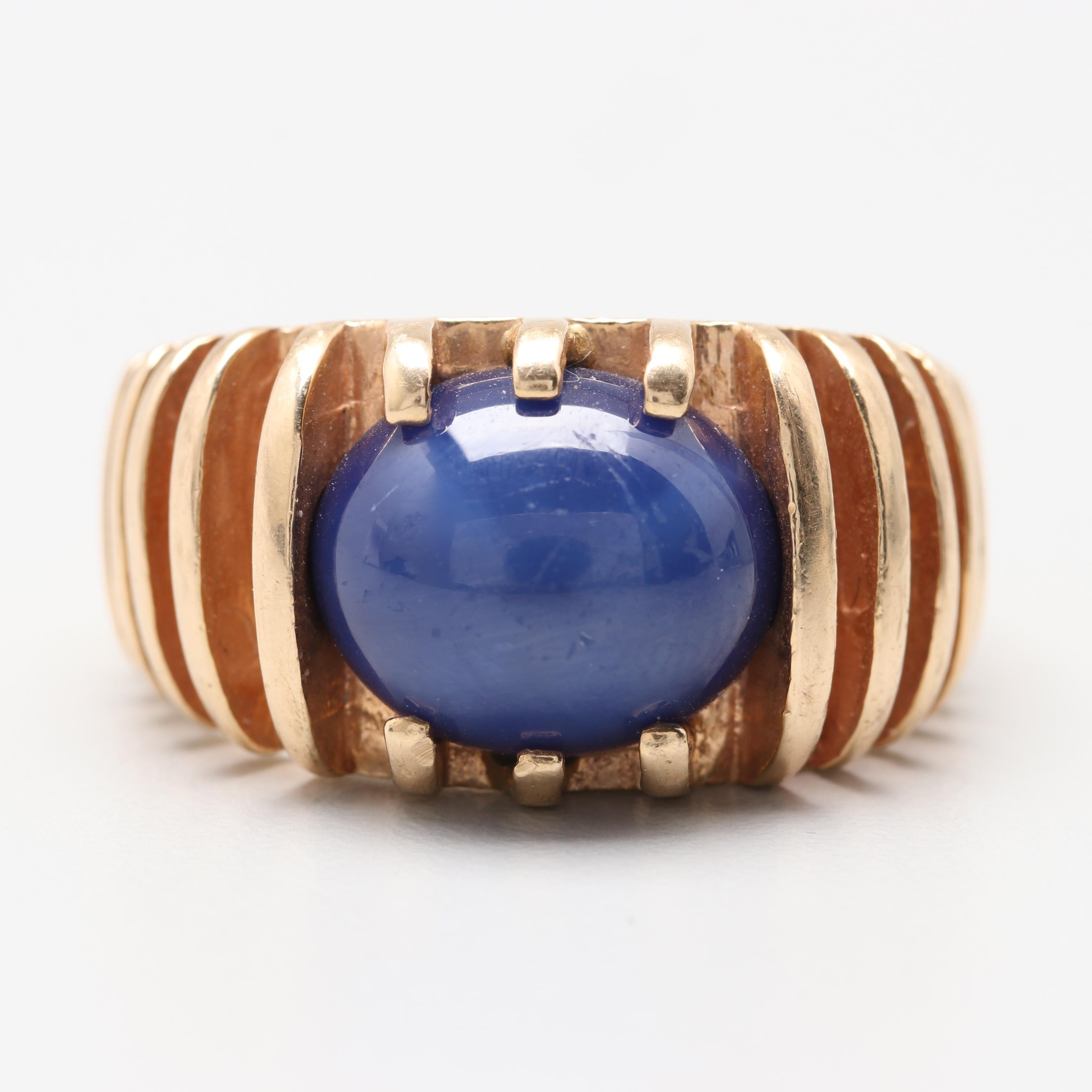 Circa 1970s 14K Yellow Gold Synthetic Blue Sapphire Ring
