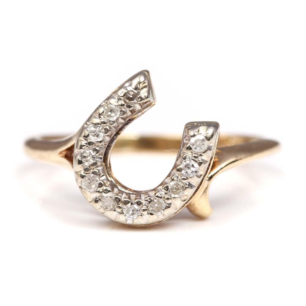 10K Yellow Gold and Diamond Horseshoe Ring