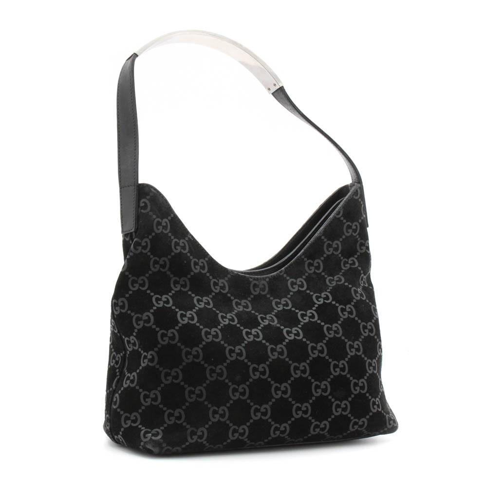 Gucci GG Monogram Black Suede and Leather Hobo Handbag