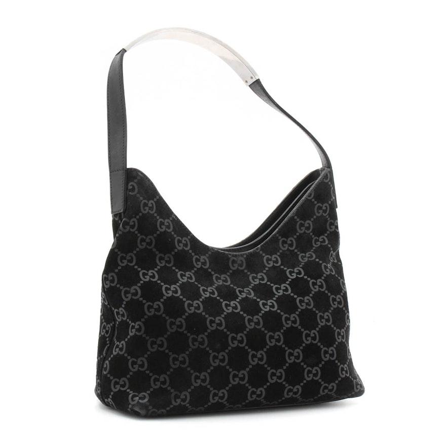 Gucci GG Monogram Black Suede and Leather Hobo Handbag   EBTH ba0f21382a785