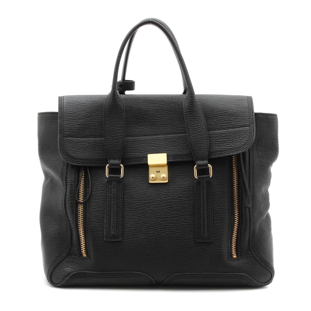 3.1 Phillip Lim Pashi Black Textured Leather Satchel Handbag