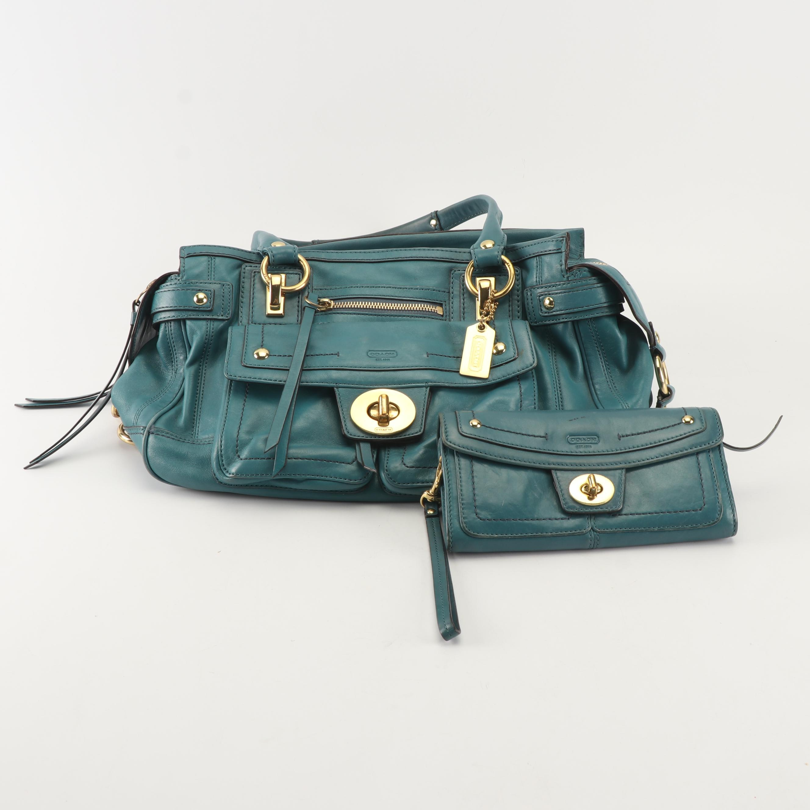 Coach Lindsay Hampton Teal Leather Satchel and Matching Wristlet Wallet