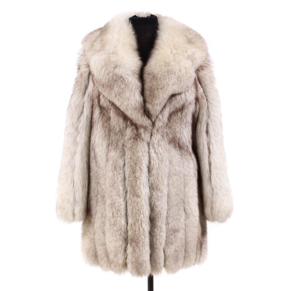 Vintage Blue Fox Fur Stroller Coat