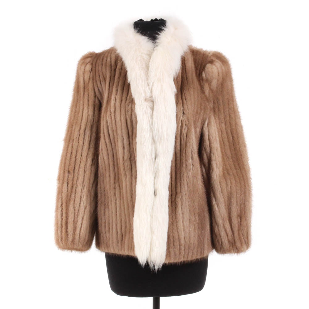 Donenfeld's Ribbon Mink and Fox Fur Jacket