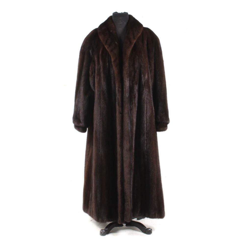 John Parks Mahogany Mink Ankle-Length Fur Coat