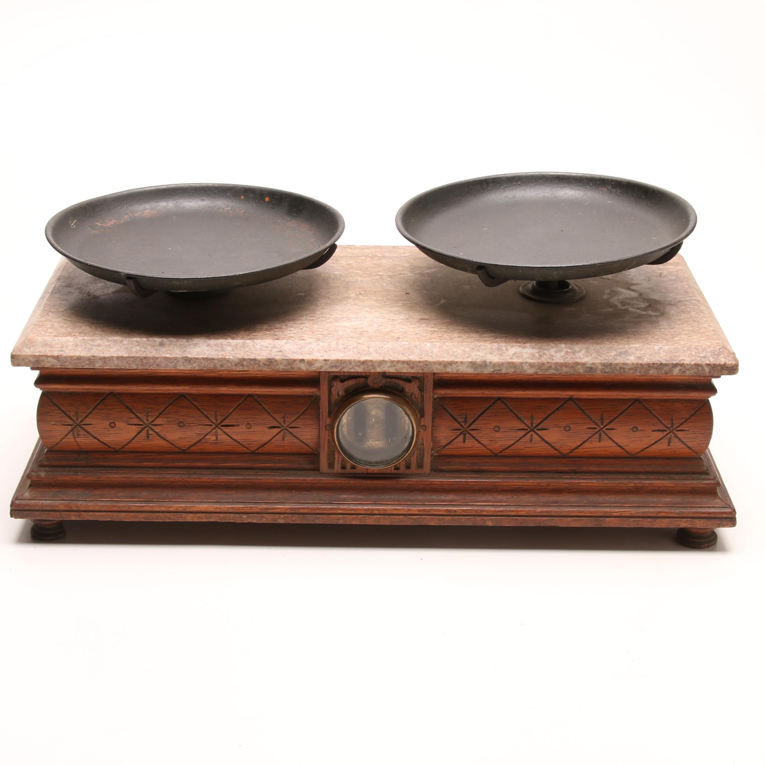 Antique Balance Scale with Granite Top