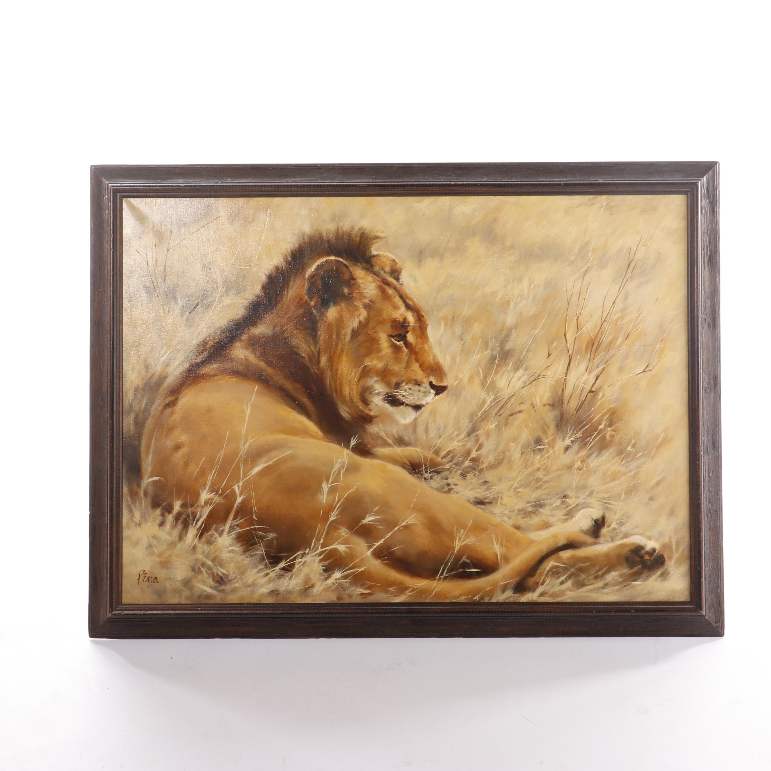 Rena Fennessy Oil Painting of Lion