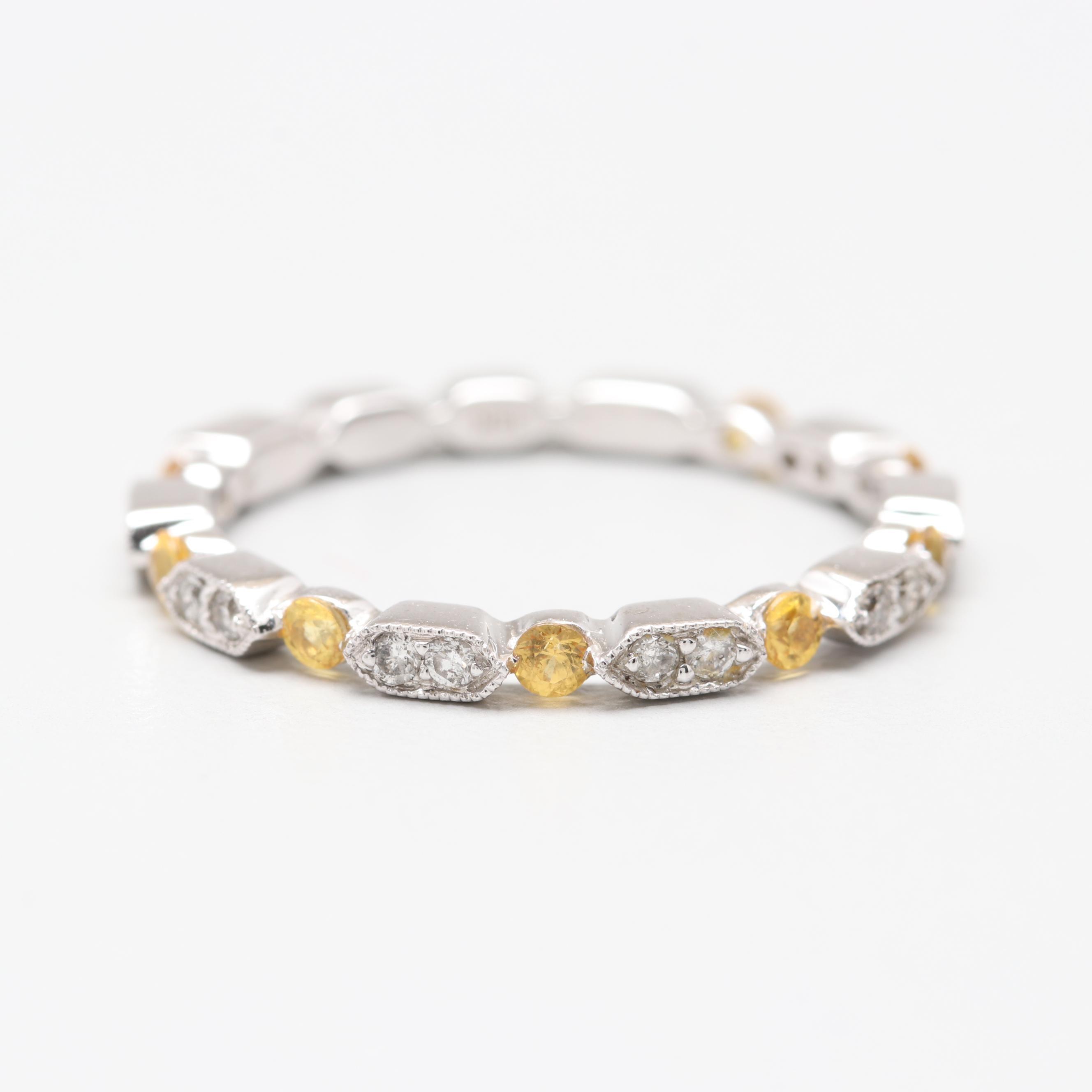 18K White Gold Yellow Sapphire and Diamond Stack Ring