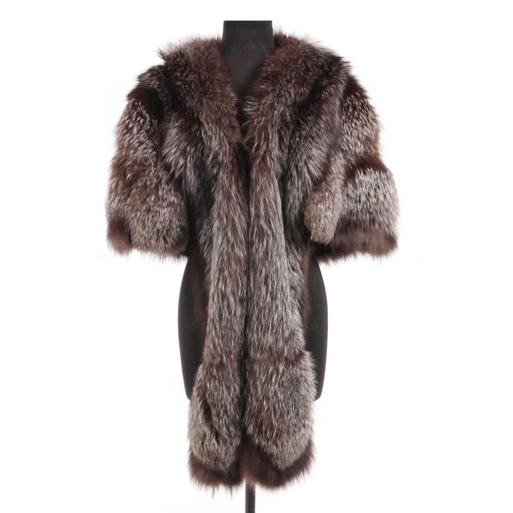 Vintage Silver Fox Fur Stole Wrap