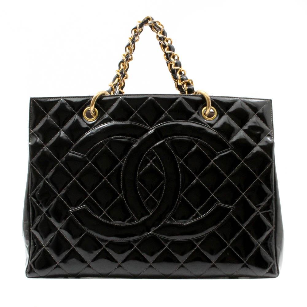 Chanel Quilted Black Patent Leather Tote
