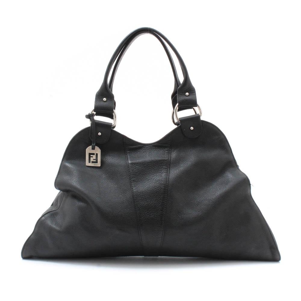 Fendi Black Pebbled Leather Top Handle Bag