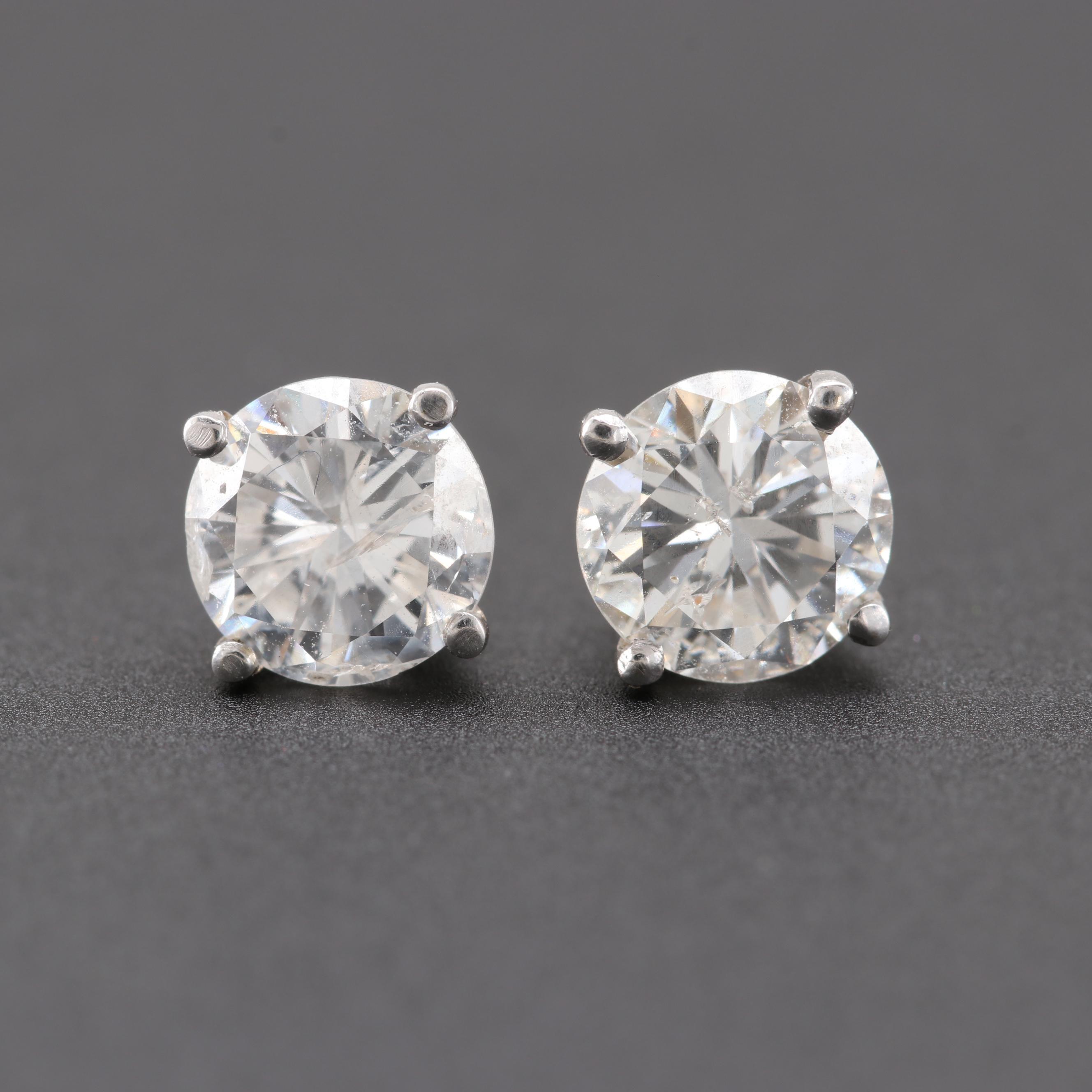 14K White Gold 1.42 CTW Diamond Stud Earrings