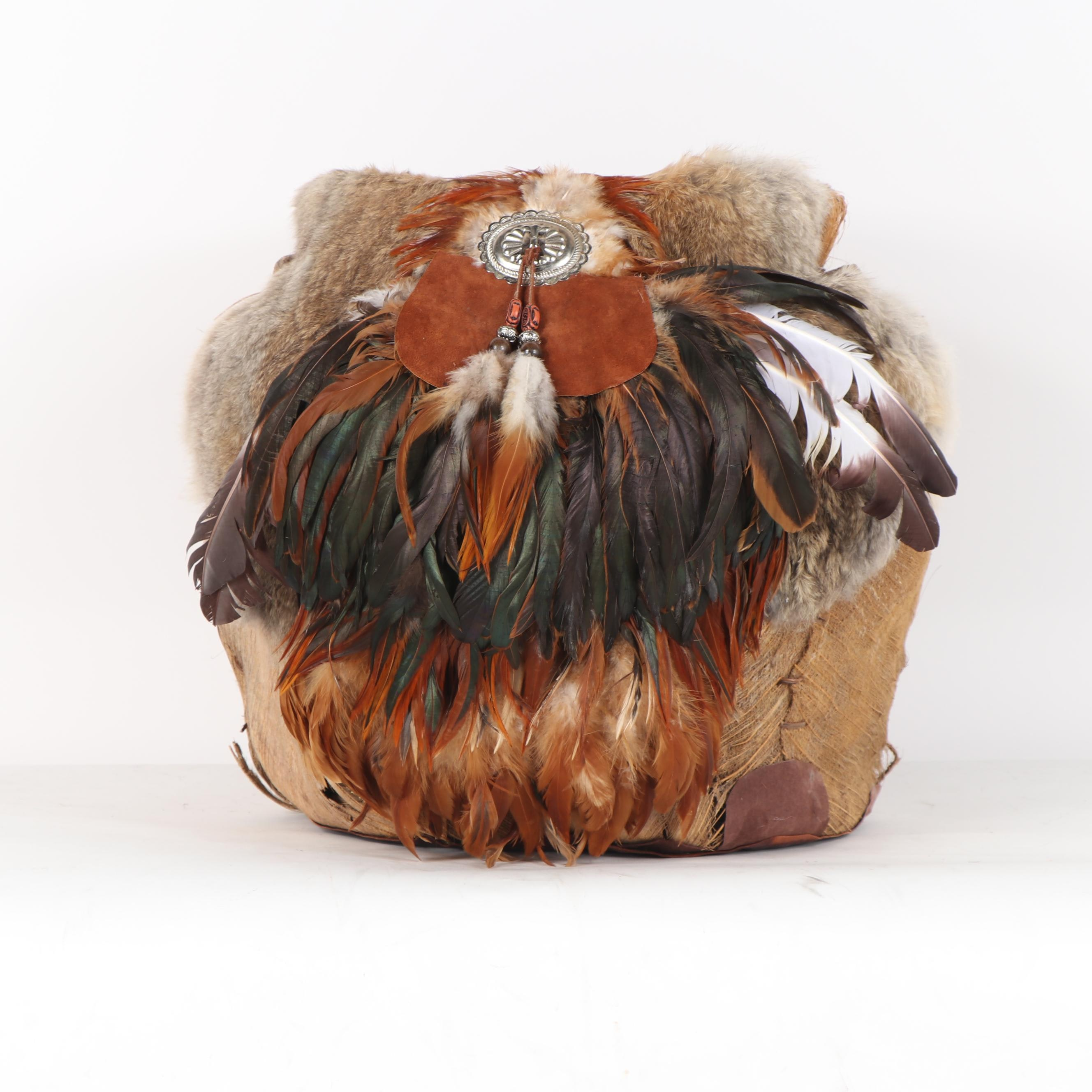 Native American Style Coconut Basket with Rabbit Fur and Feather Embellishment