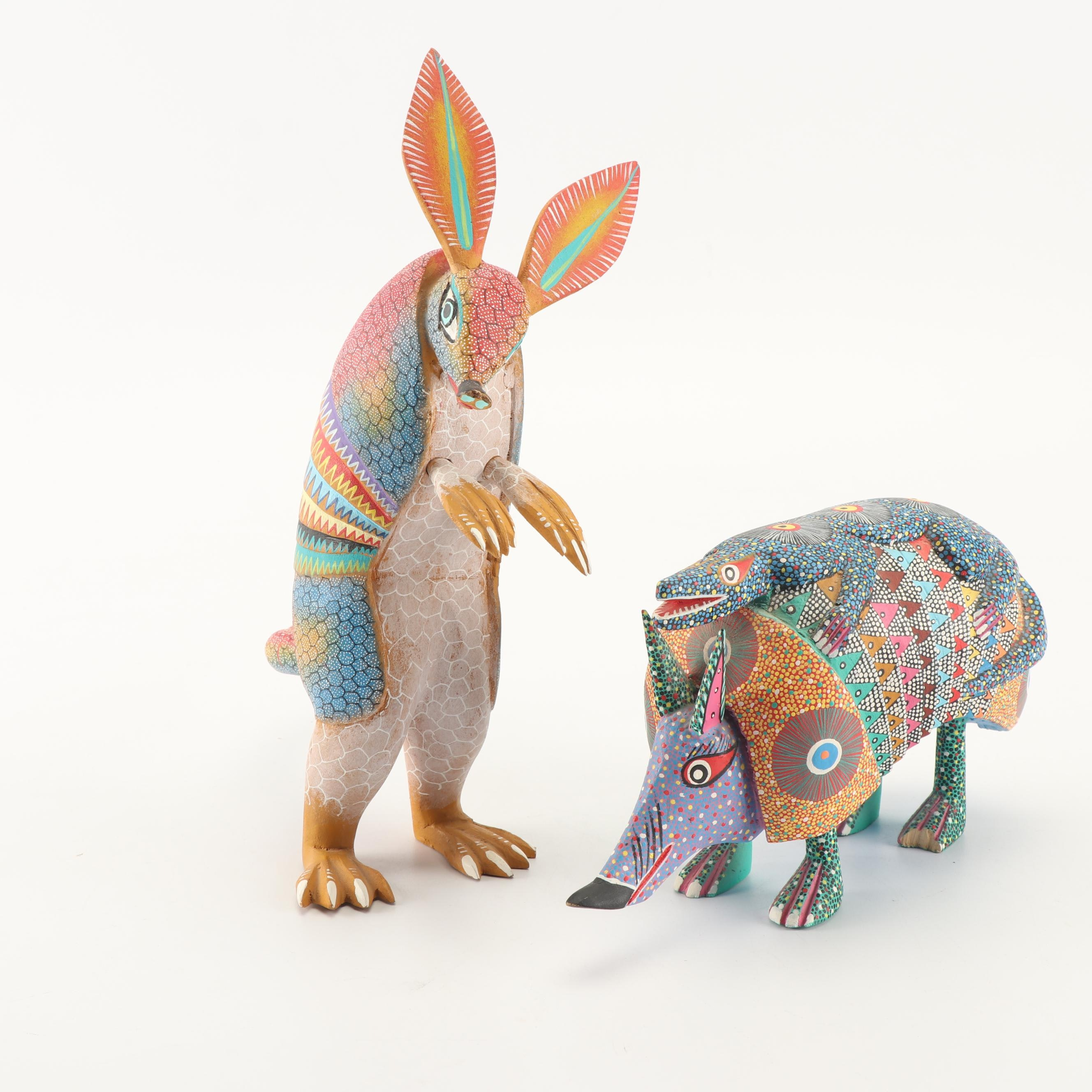 Signed Mexican Folk Art Armadillo Figurines