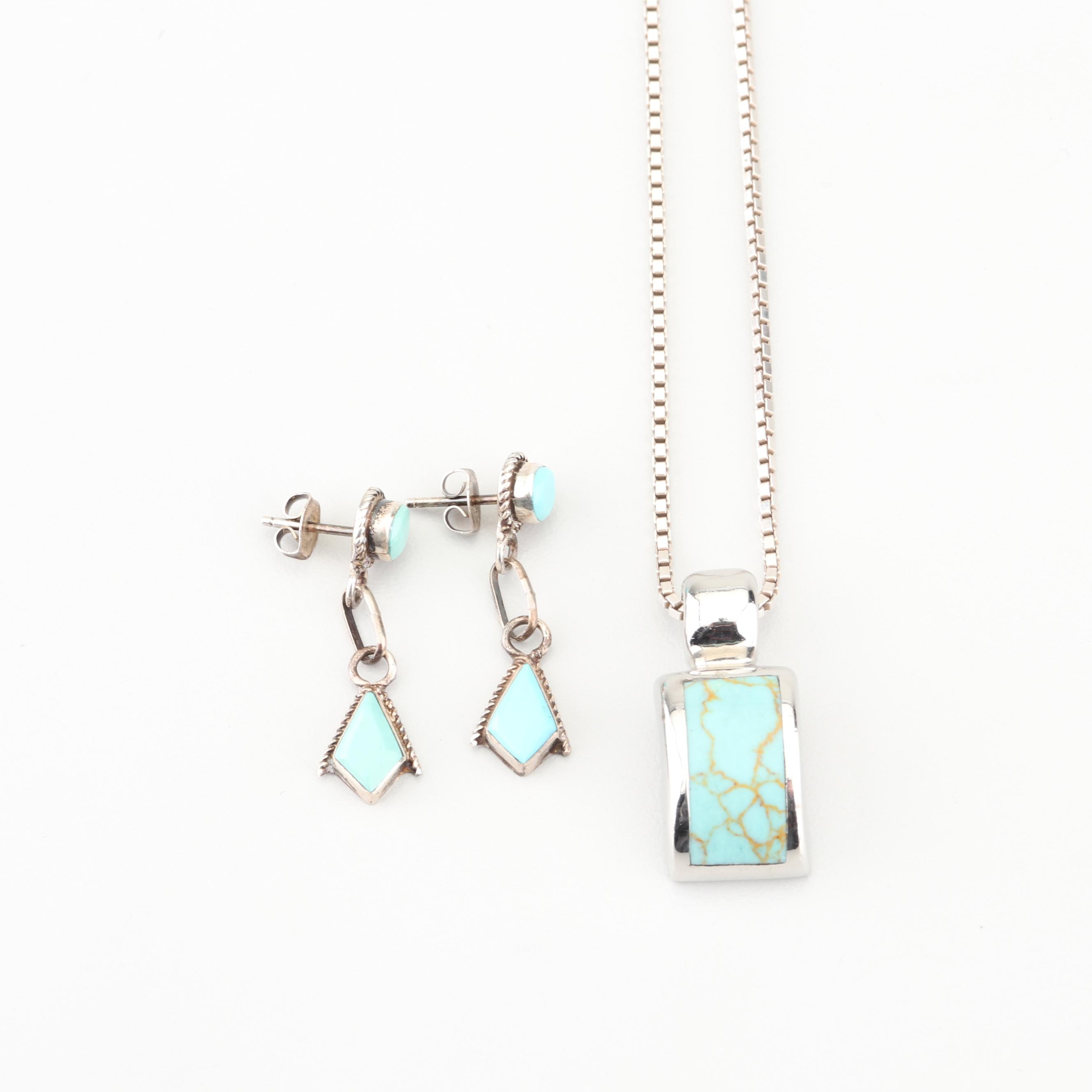Sterling Silver Turquoise Necklace and Earrings