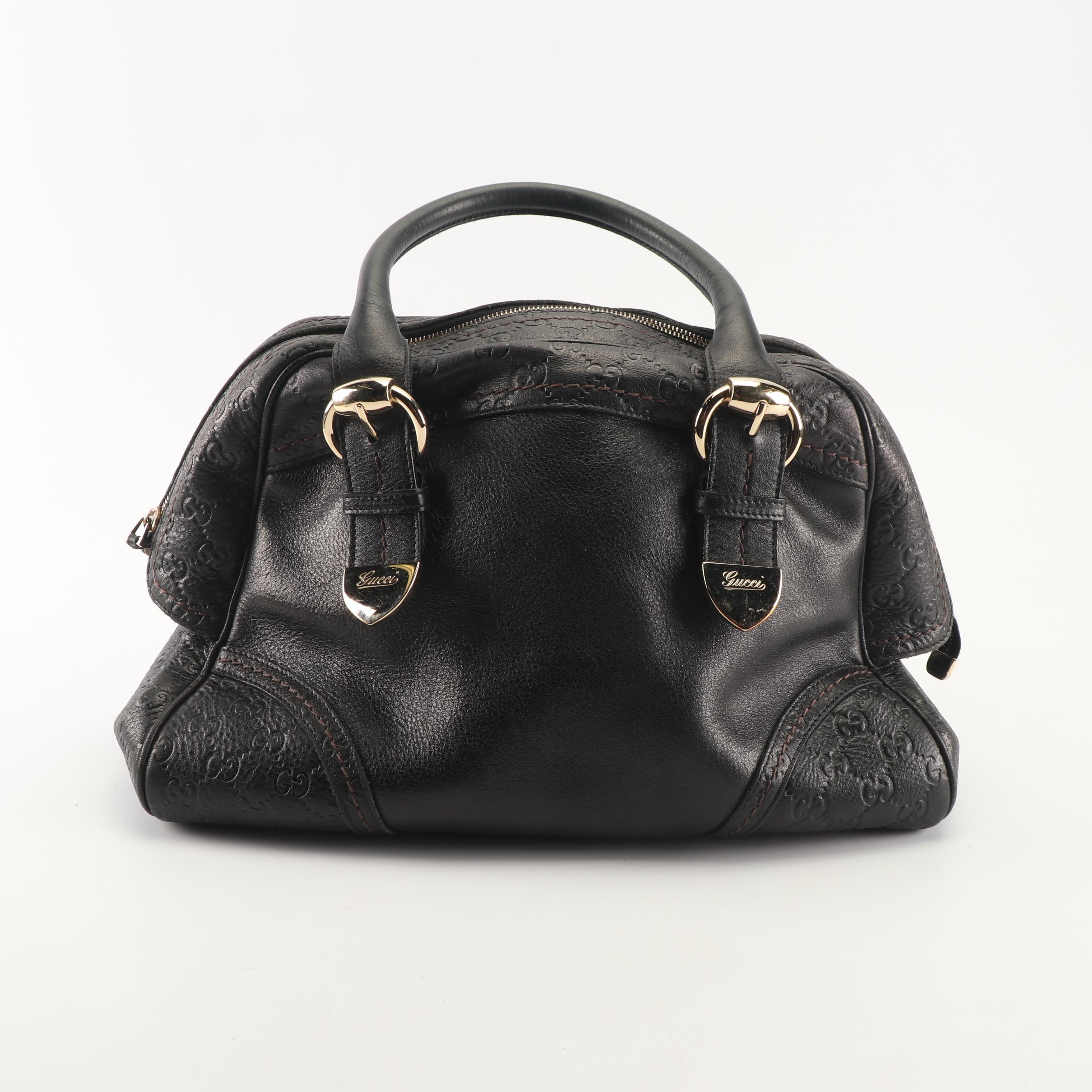 Vintage Gucci Black Guccissima Leather Handbag