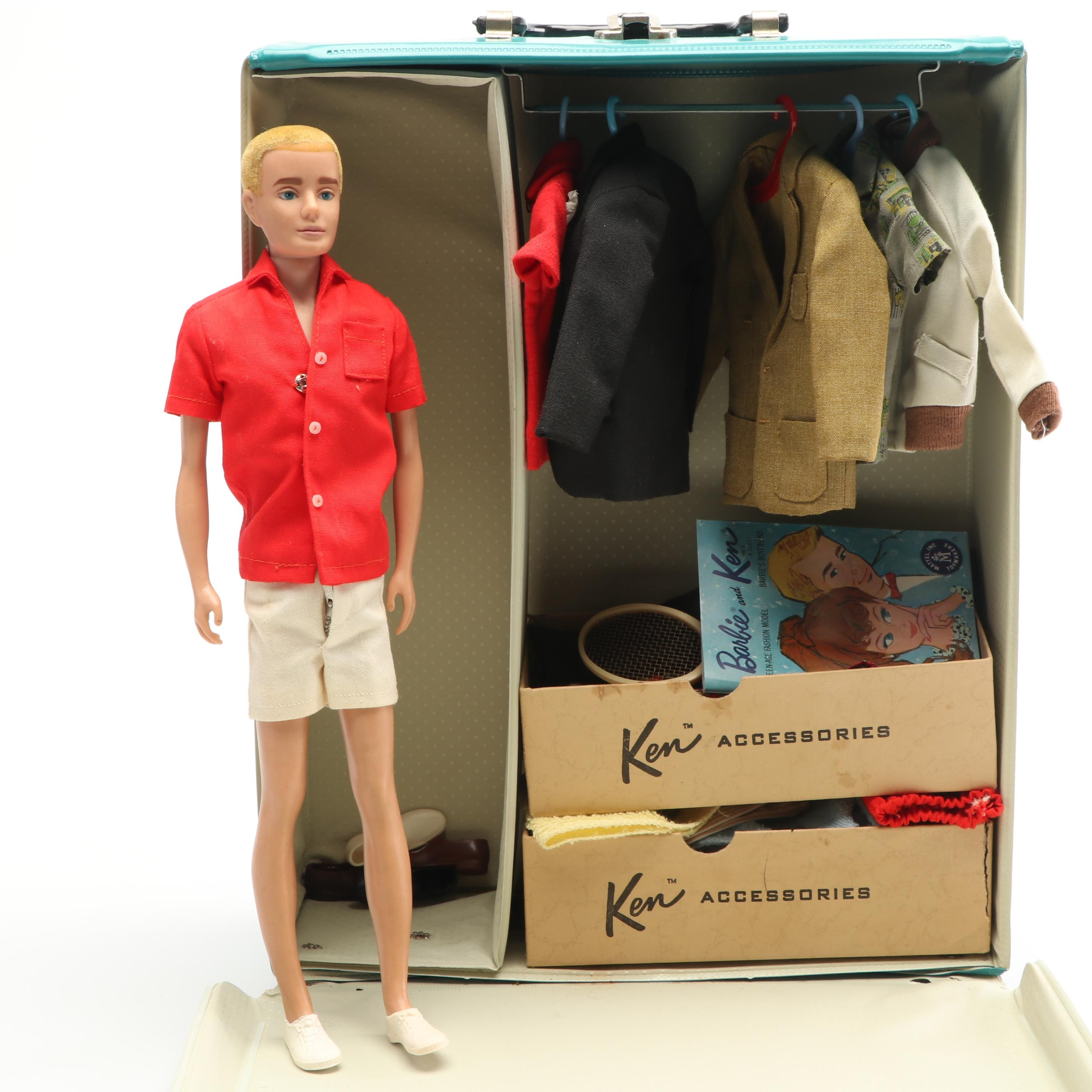 """Mattel """"Ken"""" Doll with Accessories and Ponytail Carrying Case, 1960s"""