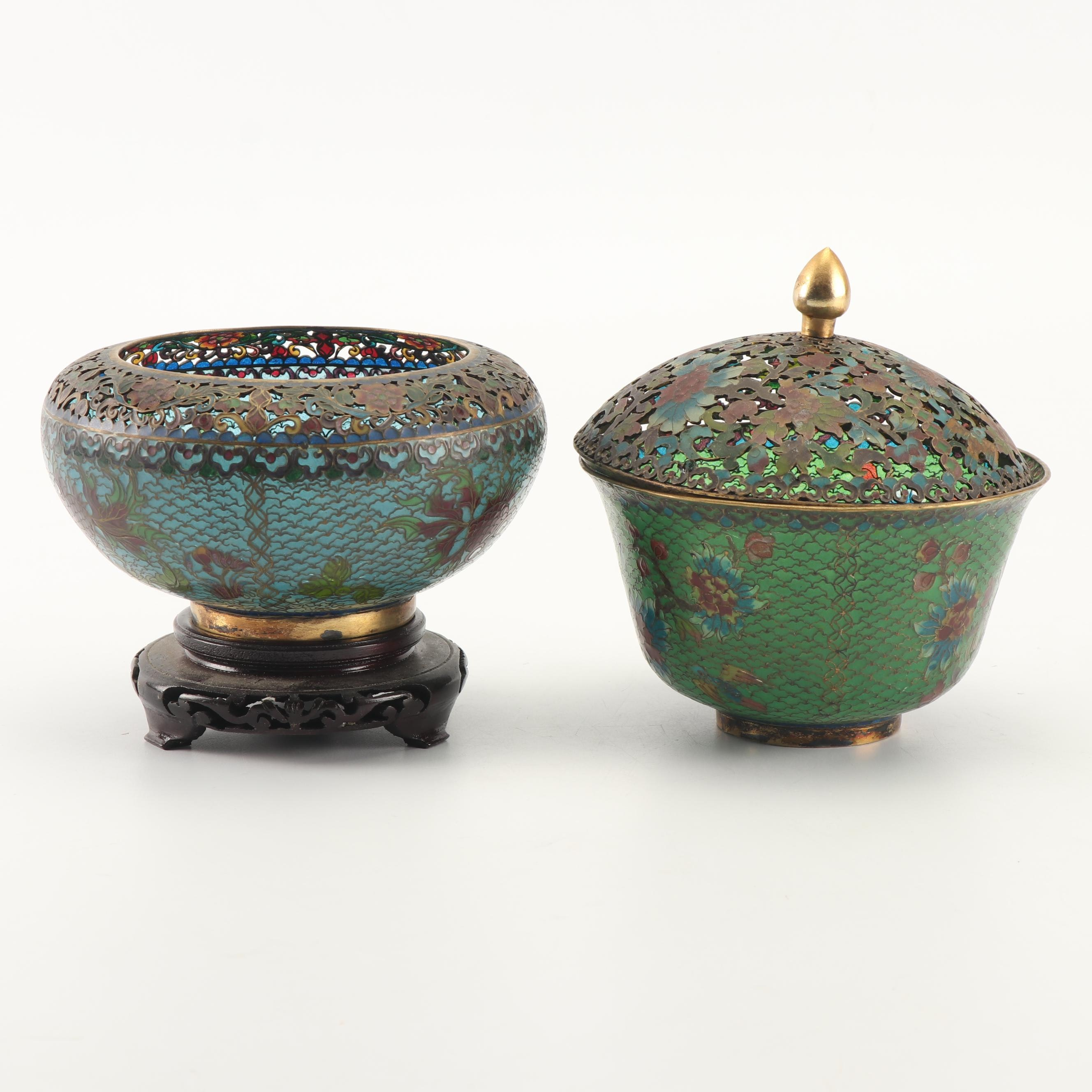 Chinese Plique-a-Jour Bowl and Lidded Jar