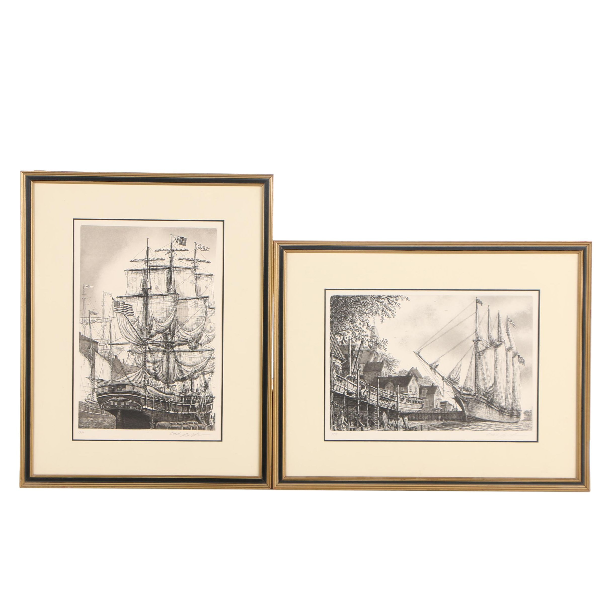 Alan Jay Gaines Etchings of Tall Ships