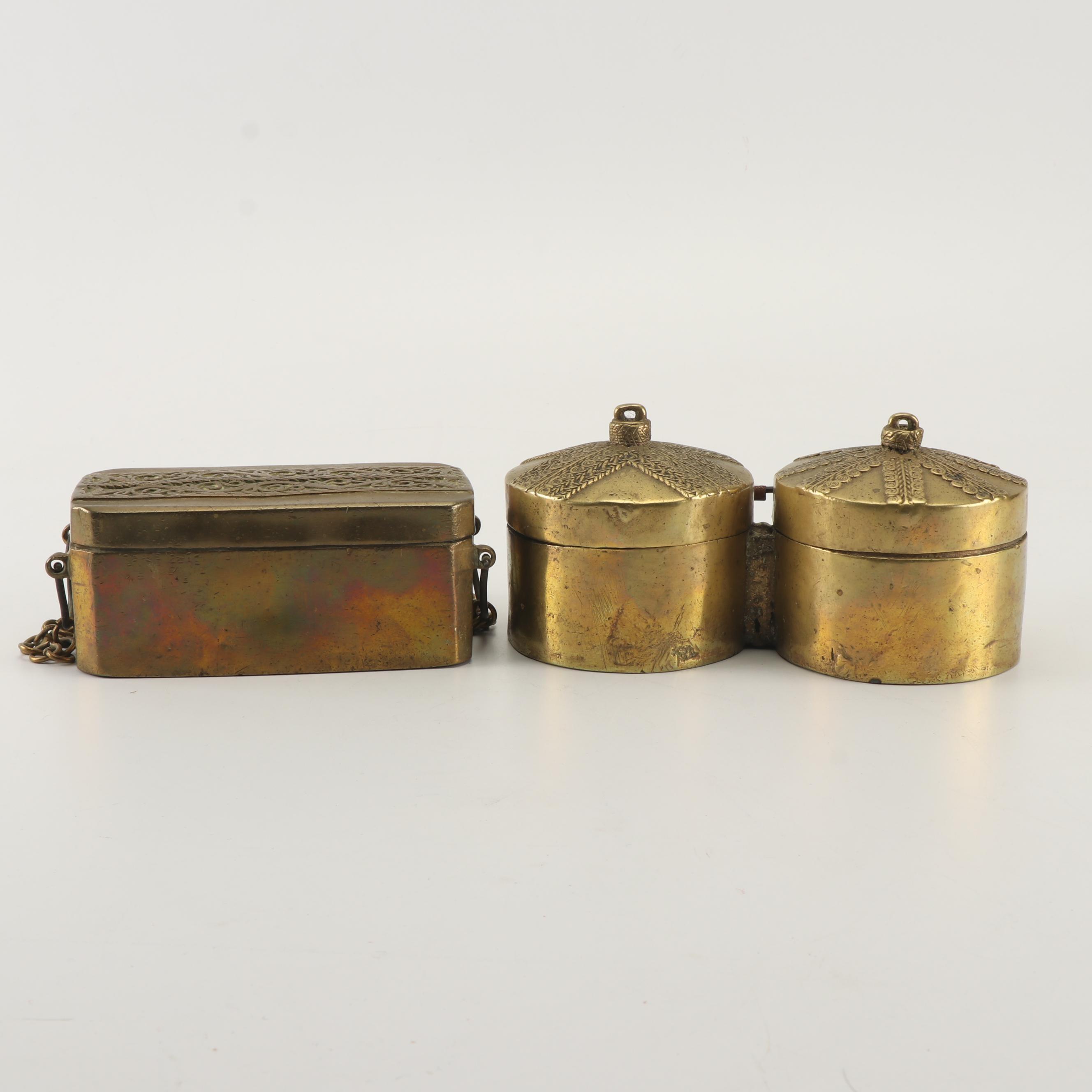 West Asian Brass Betel Nut Boxes