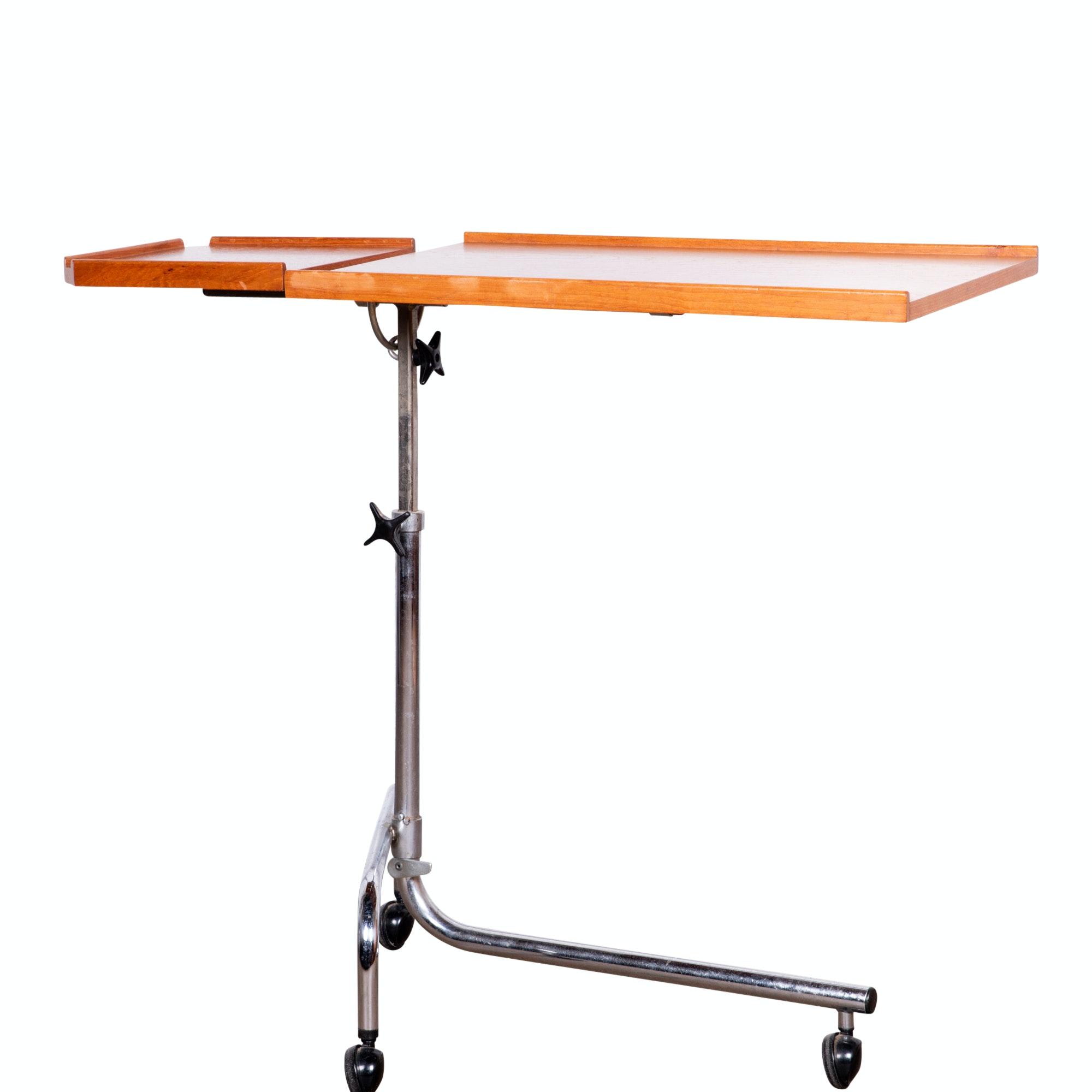 Scandinavian Modern Teak Adjustable Tray Table on Wheels, 20th Century