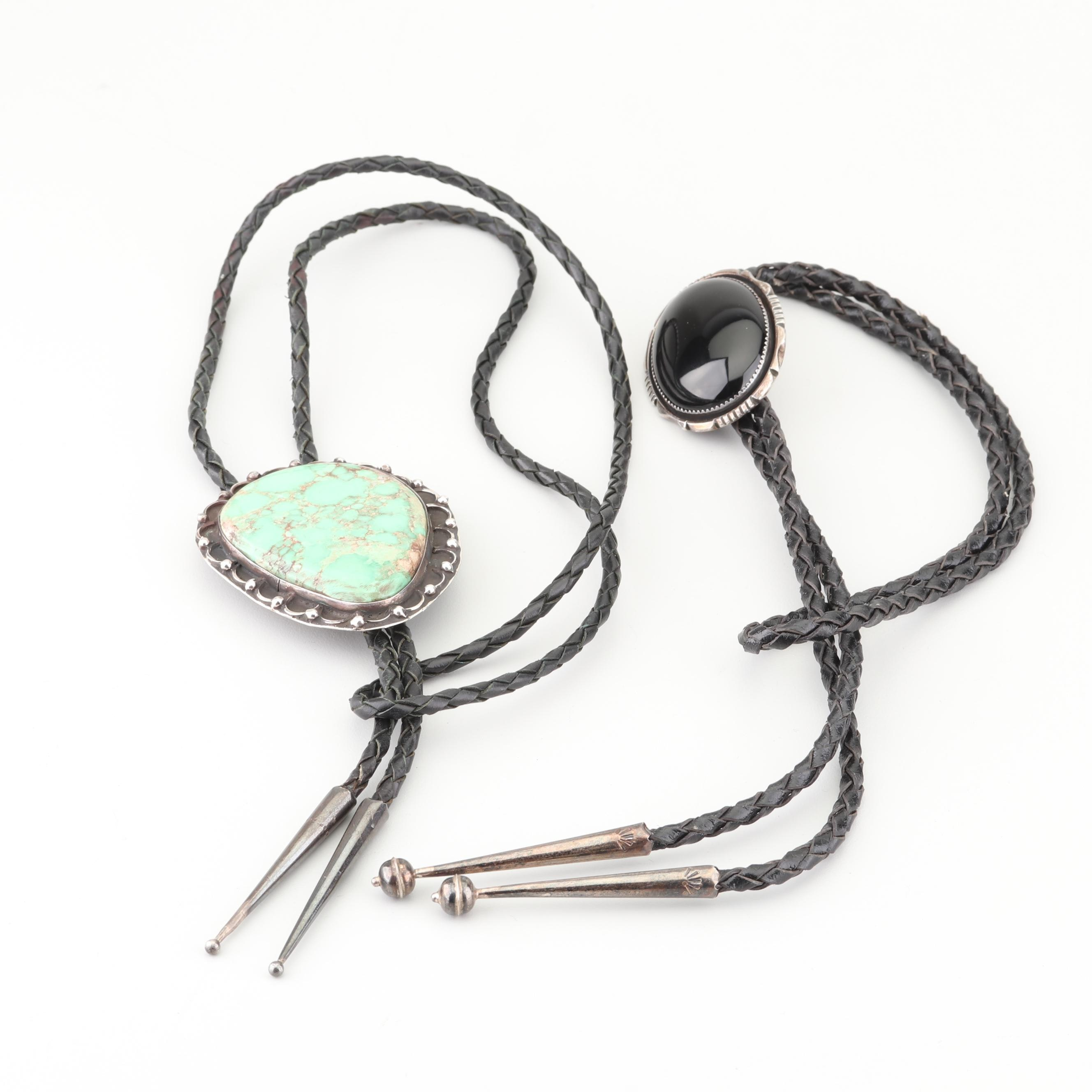 900 Silver Turquoise and Black Onyx Leather Bolo Ties
