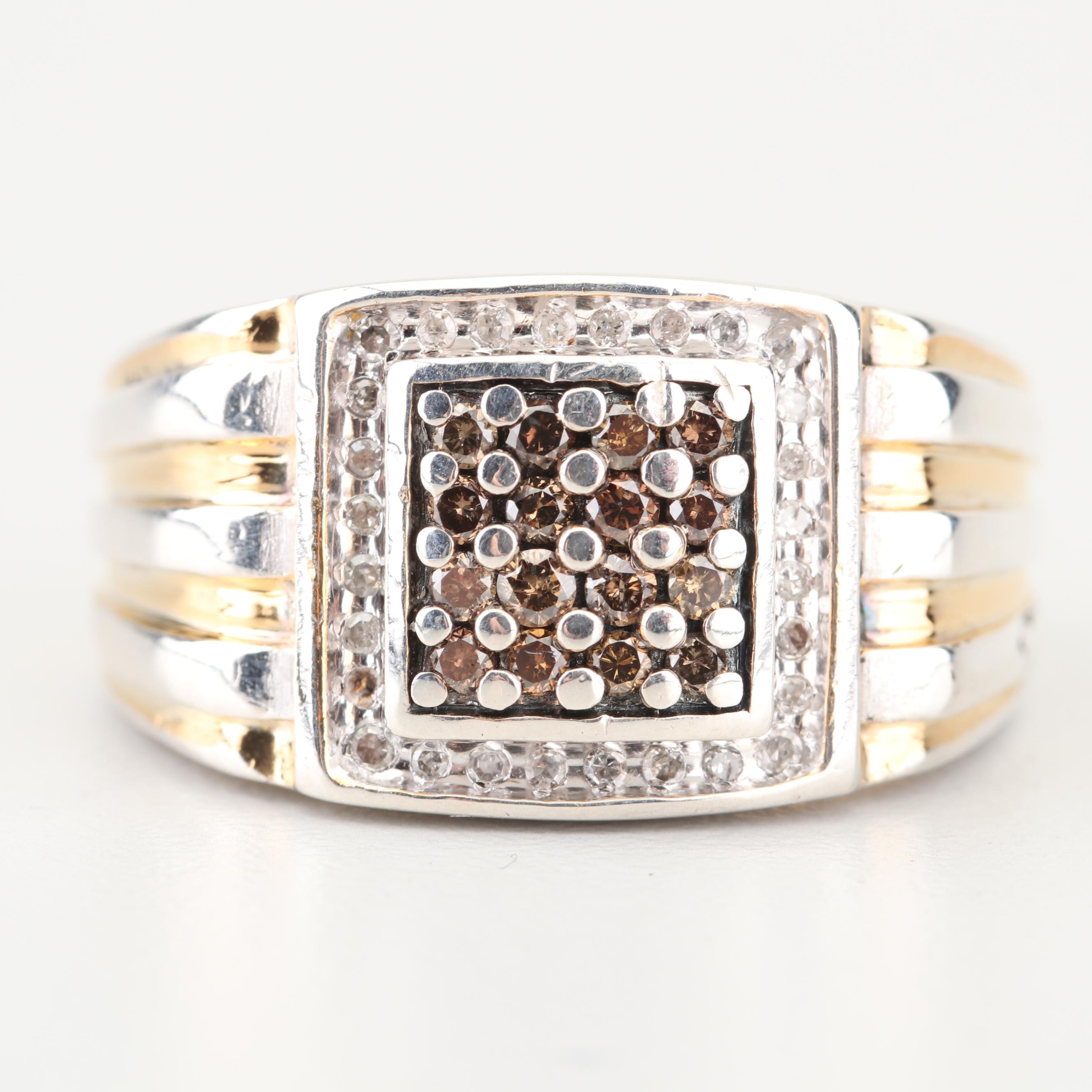 Sterling Silver Brown Diamond and Diamond Ring