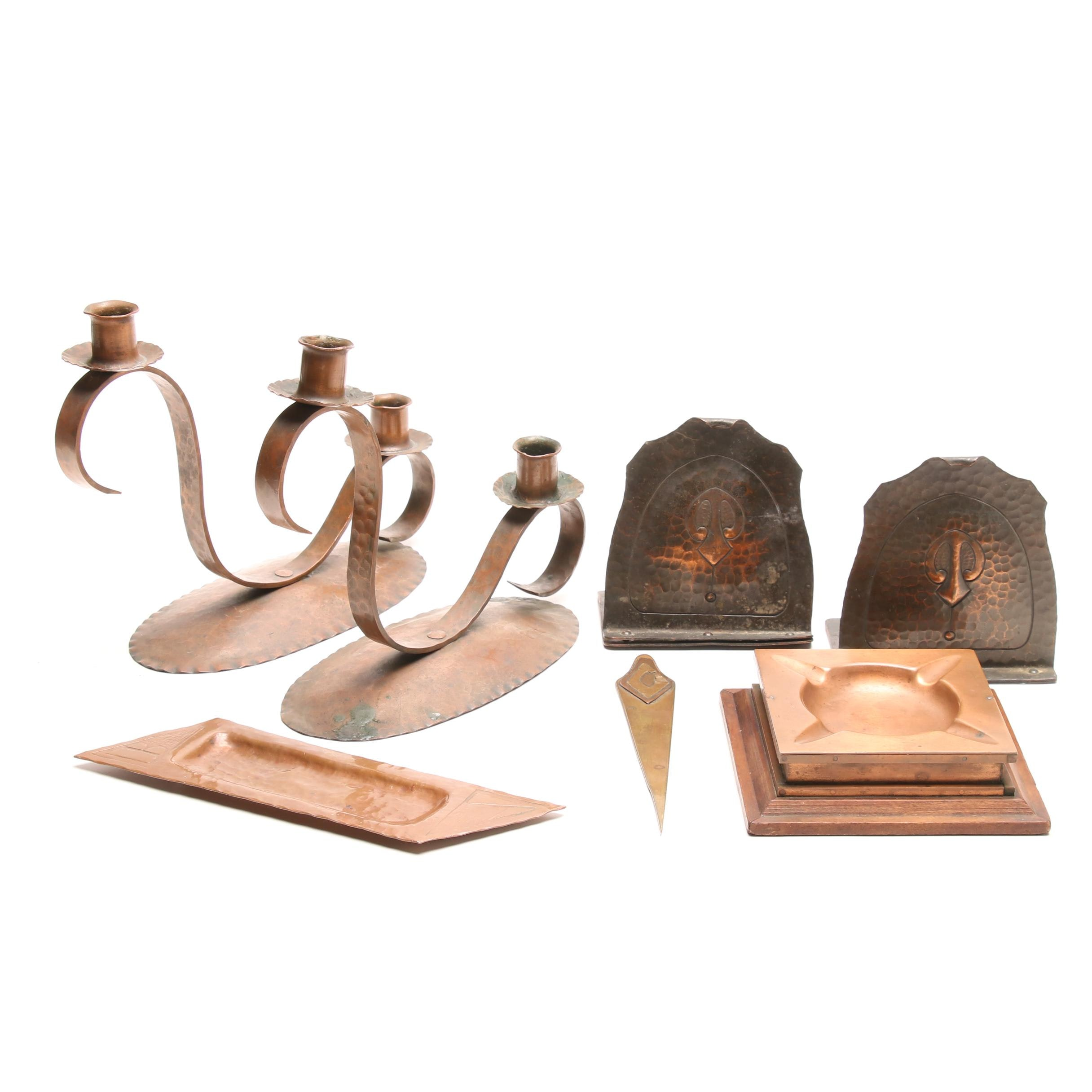 Arts and Crafts Copper Desk Accessories and Candelabra