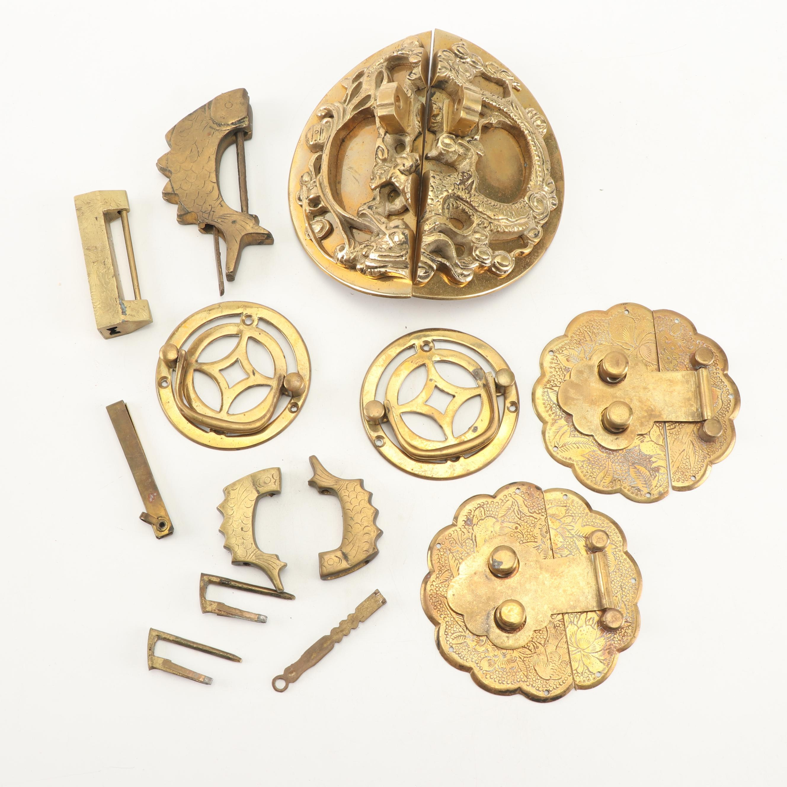 East Asian Brass Locks and Drawer Pulls, 20th Century