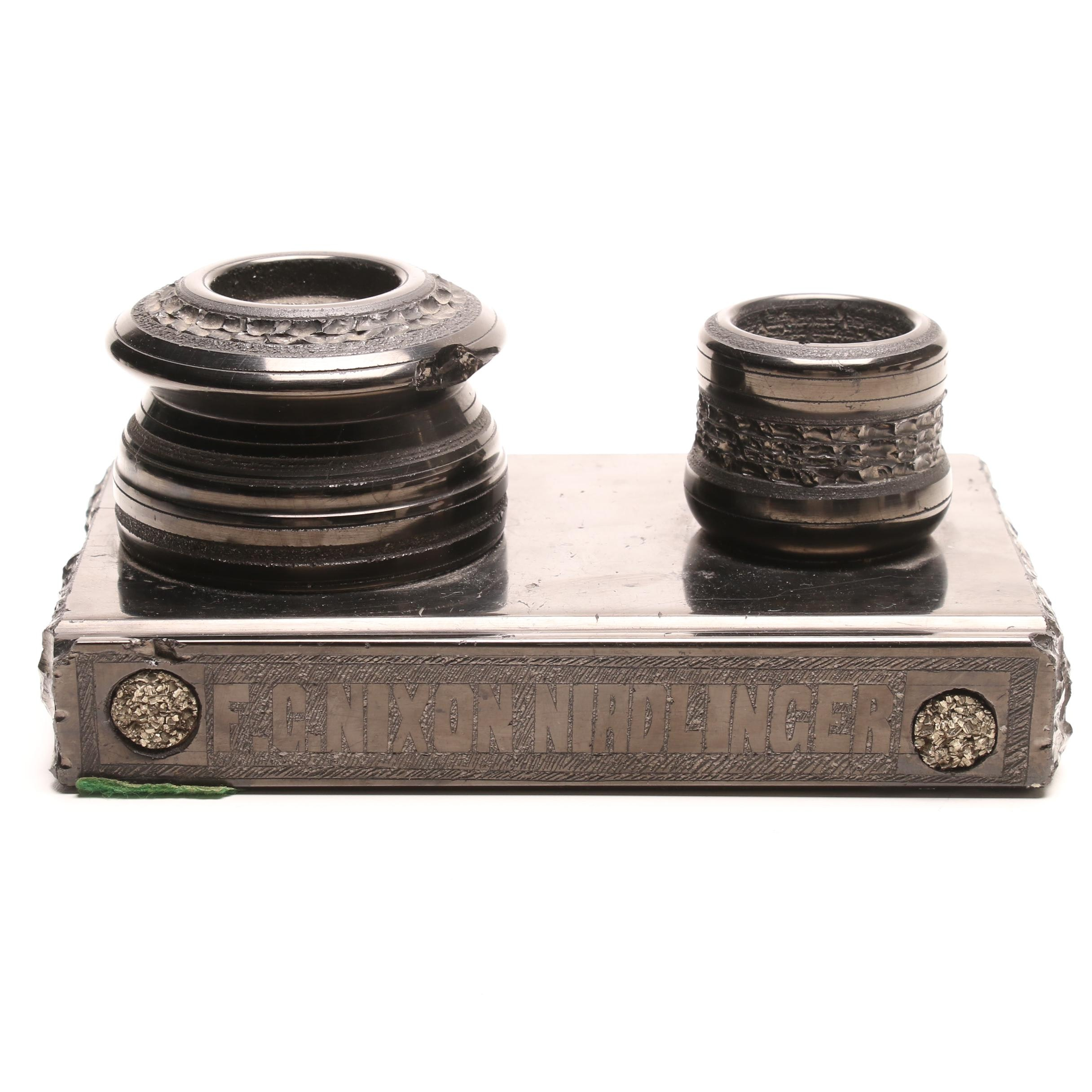 "Carved Jet and Pyrite ""F.G. Nixon-Nirdlinger"" Inkwell Pen Stand, Late 19th C."