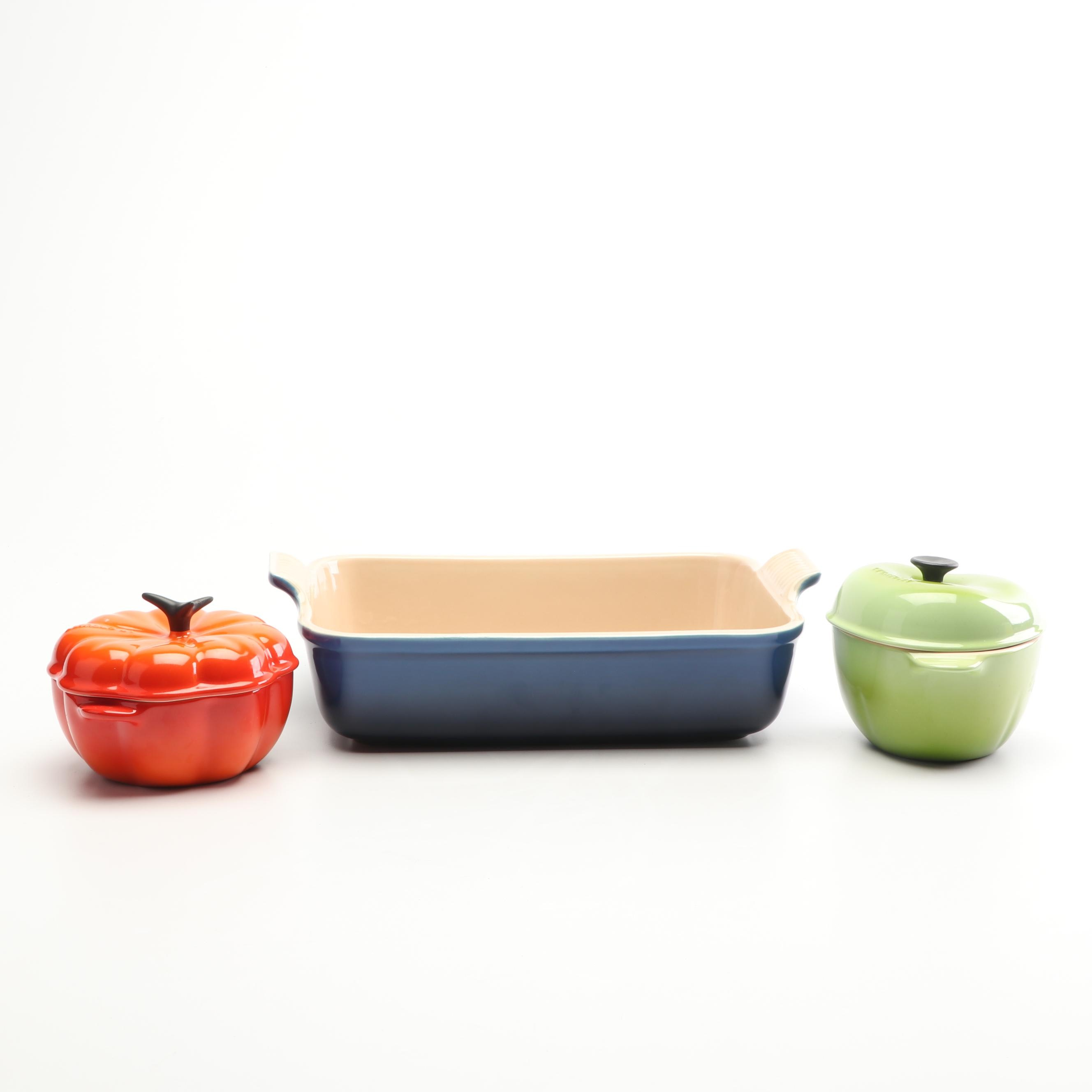 Le Creuset Pumpkin and Apple Cocottes with Rectangular Baker