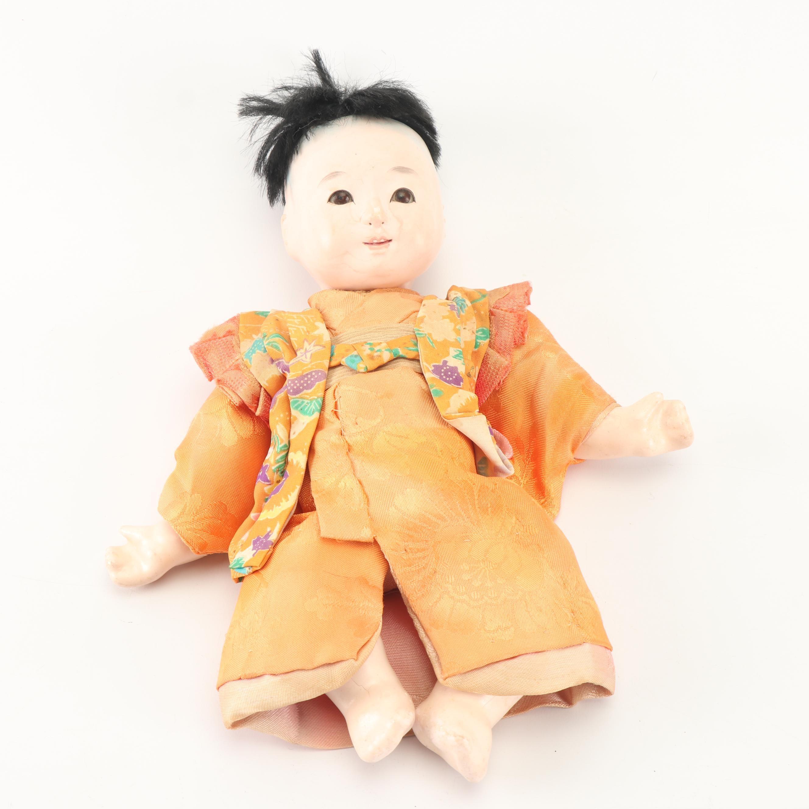 Japanese Composition Gofun Doll in Silk Costume