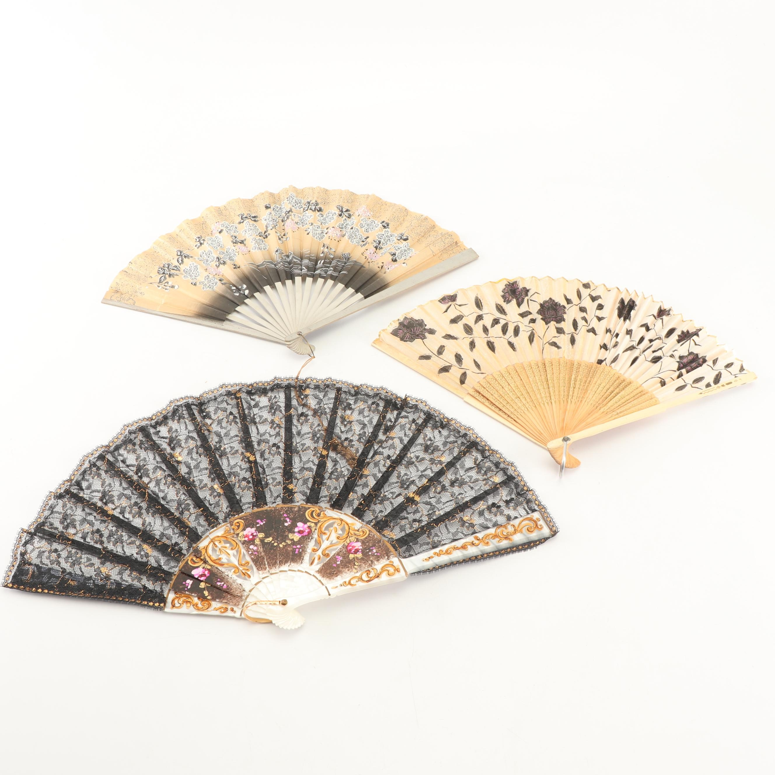 Vintage Hand-Painted Folding Hand Fans
